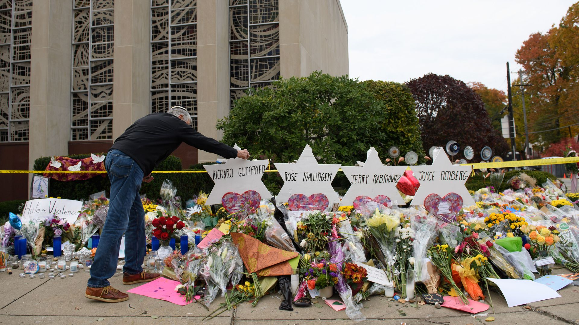 Flowers for the Tree of Life Synagogue shooting vicitms