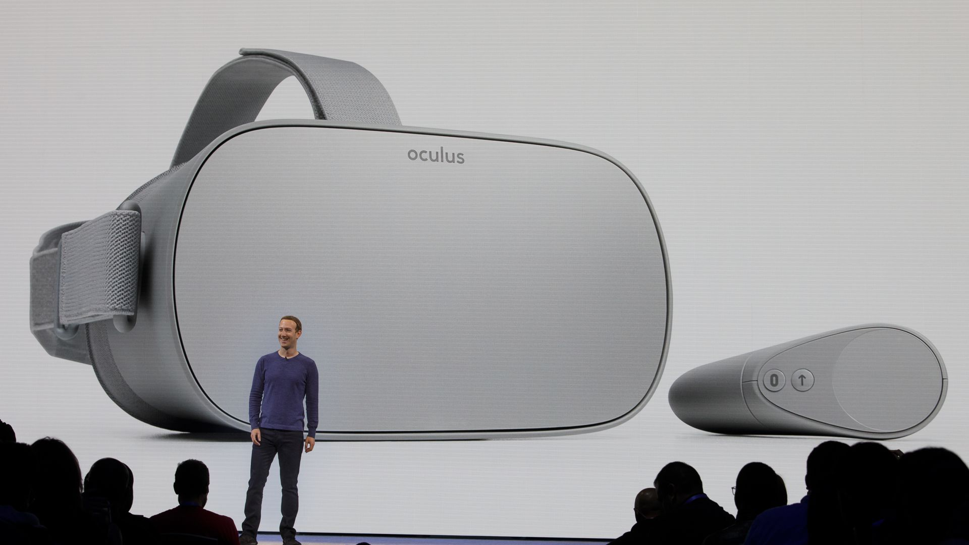 Facebook CEO Mark Zuckerberg introducing the Oculus Go at F8 2018.