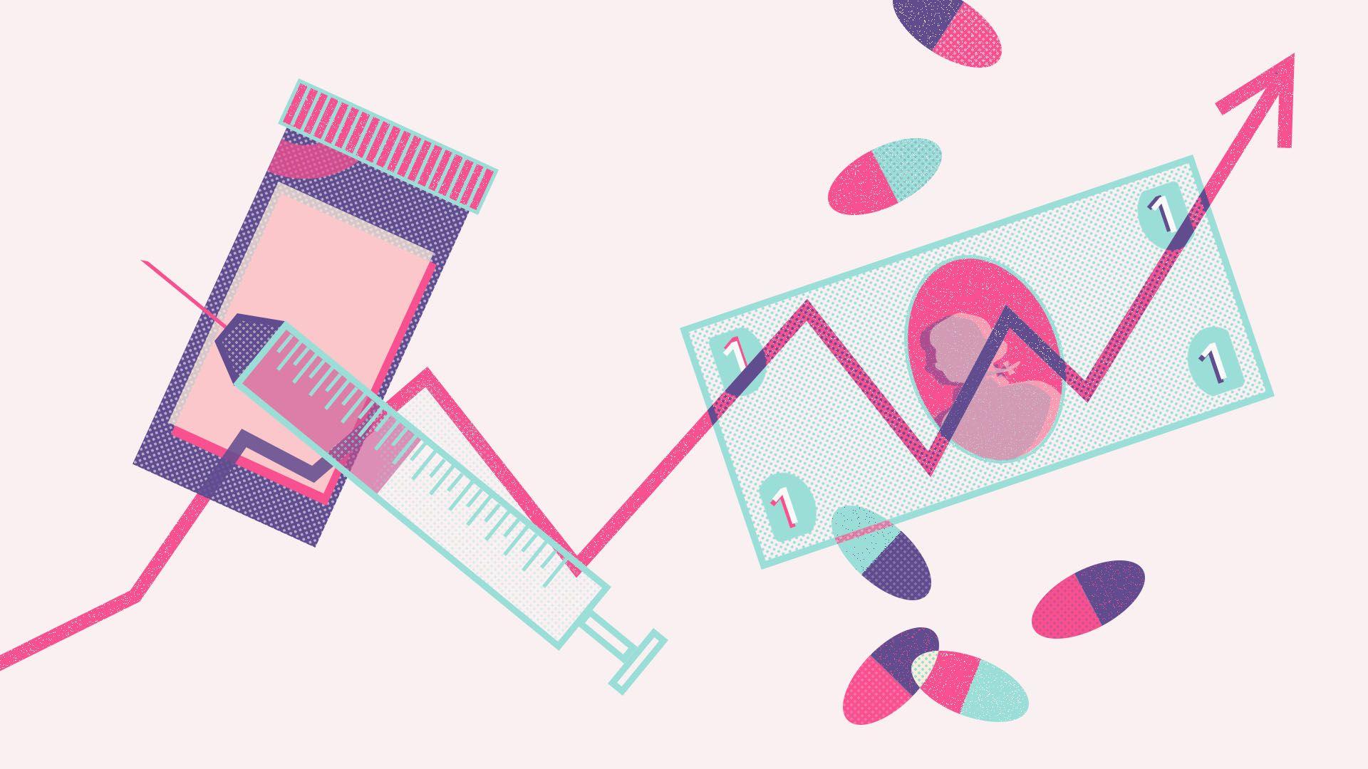 llustration of medication bottle, pills, dollar, syringe, and price arrow