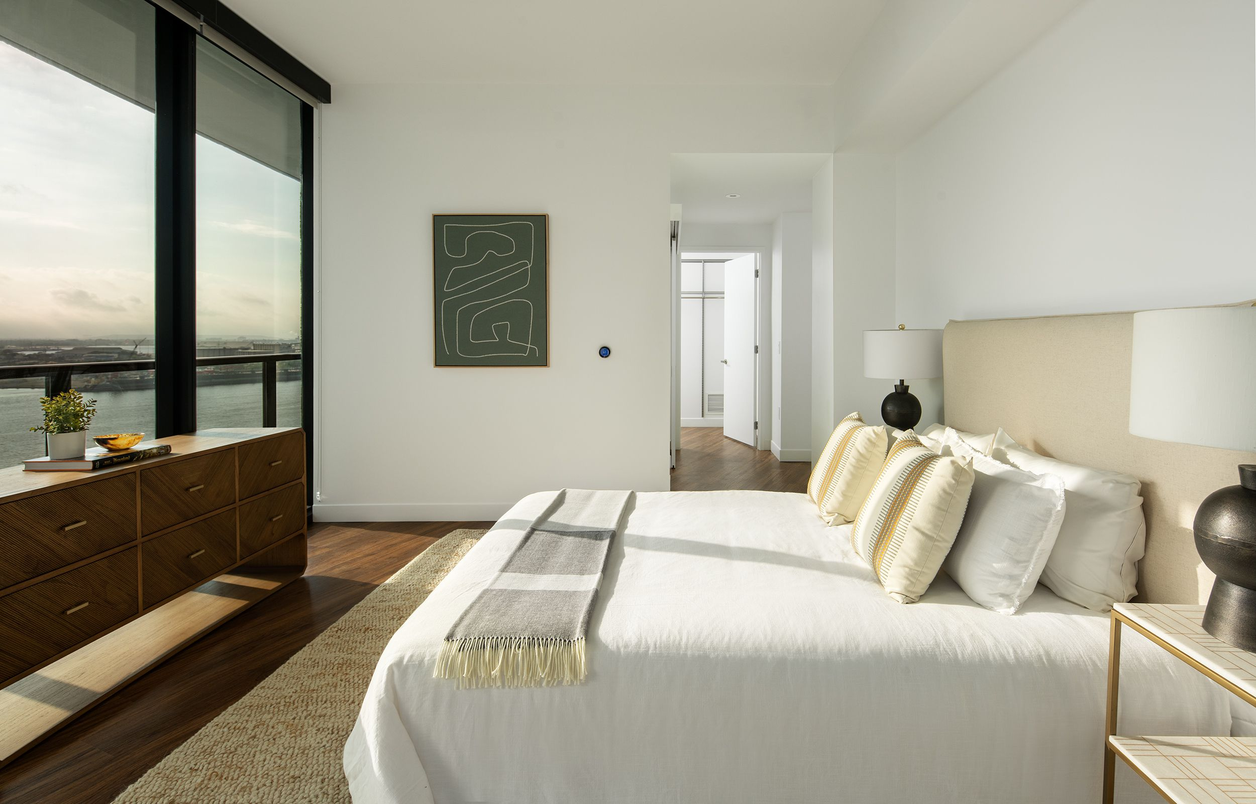 A bedroom inside the Heron Apartment Tower.