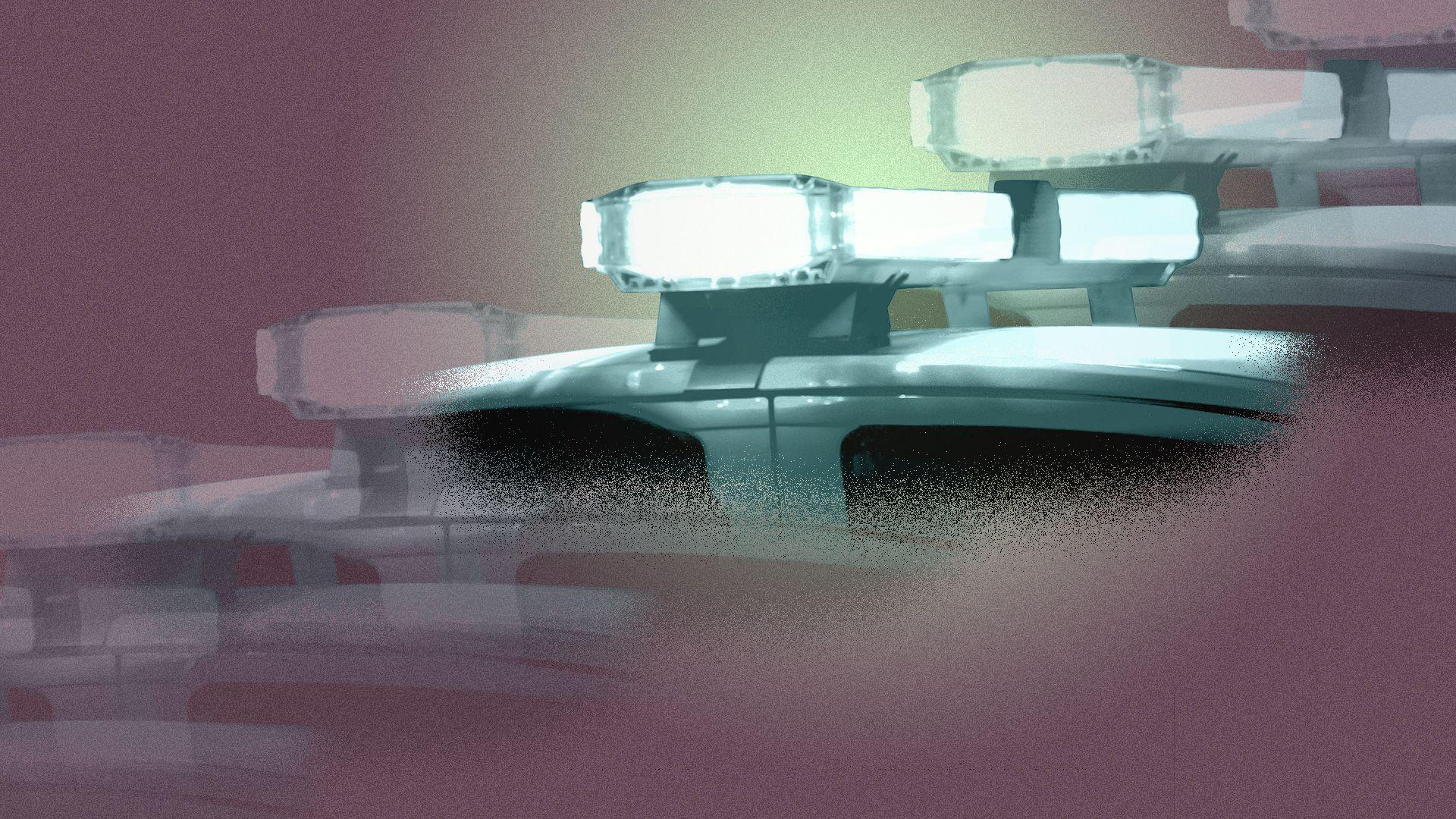 Illustration of several police cruiser lights, some of them transparent.
