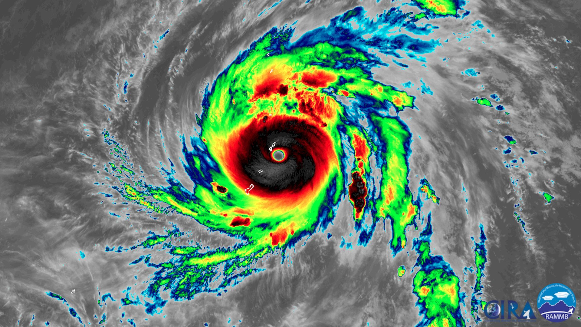 Super Typhoon Yutu slams the Northern Mariana Islands as a Category 5 storm on October 24, 2018.