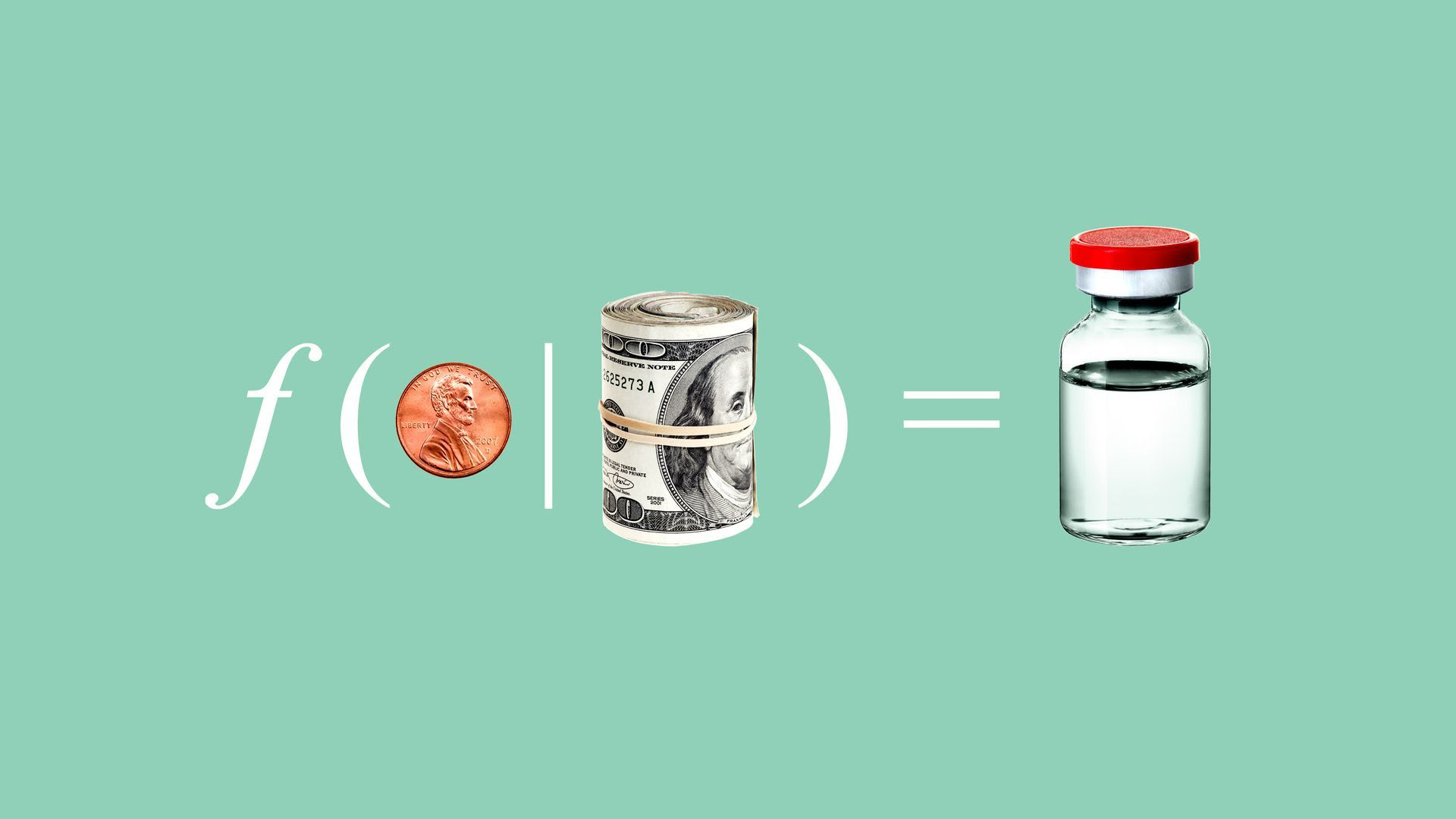 Illustration of a math equation with money leading to a vaccination bottle