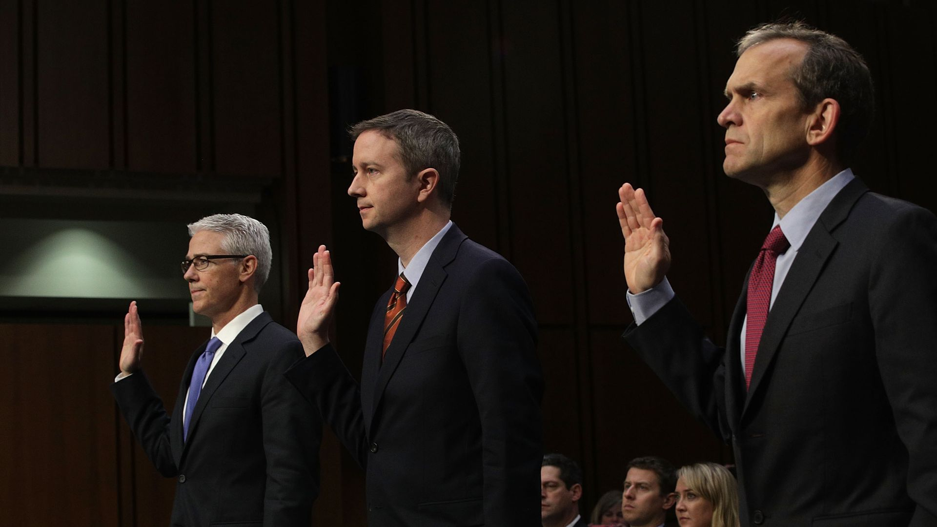Employees of Facebook, Twitter and Alphabet are sworn in to testify before a congressional hearing