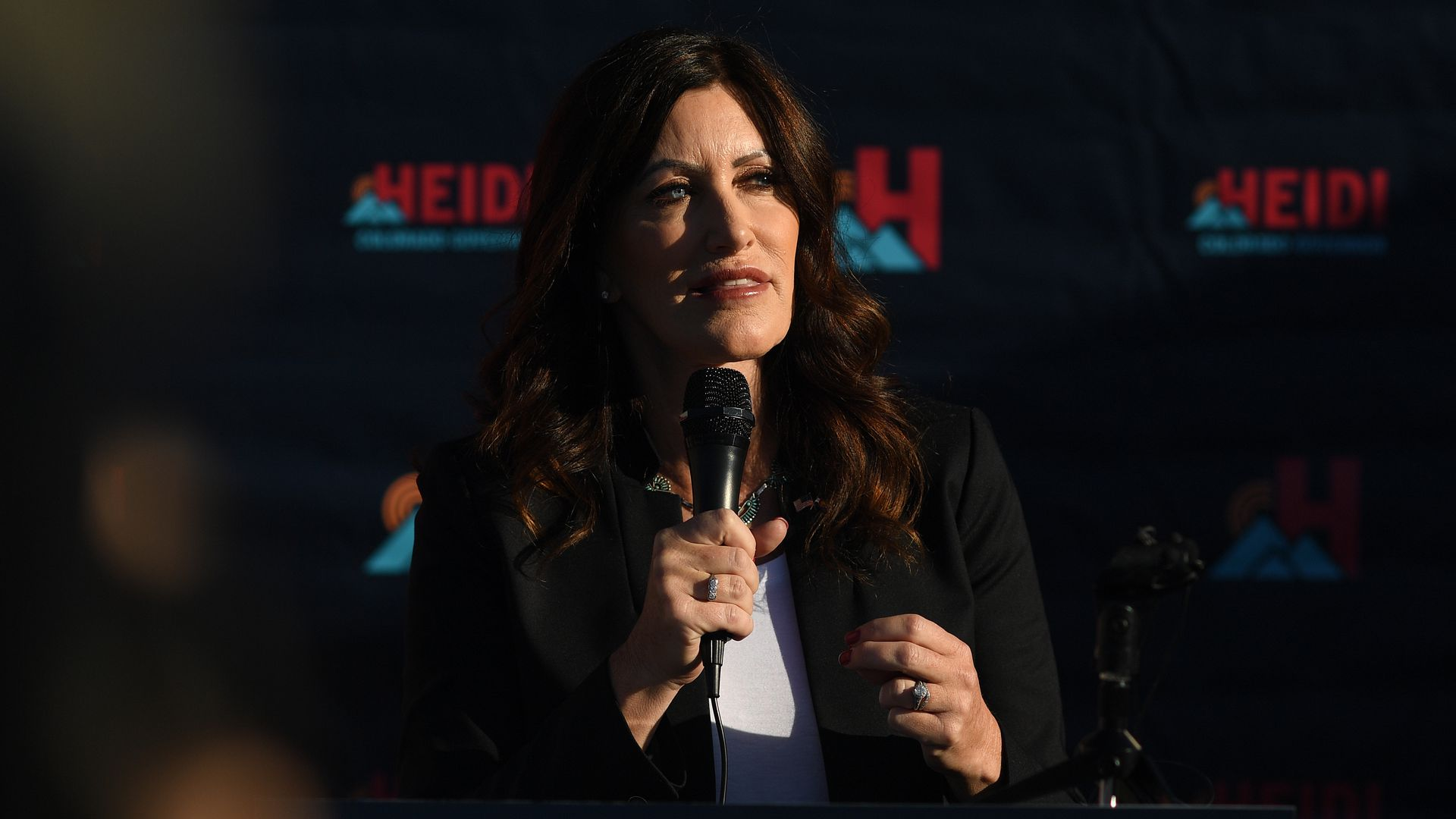 Heidi Ganahl announcing her campaign for governor in Monument. Photo: RJ Sangosti/The Denver Post via Getty Images