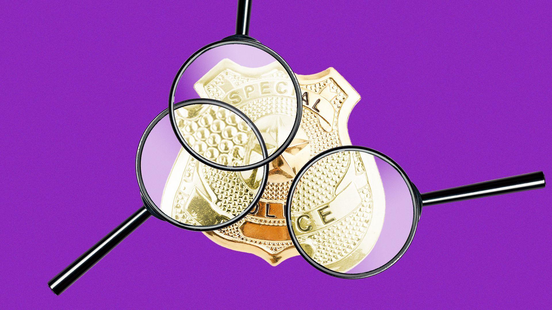 Illustration of many magnifying glasses examining a police badge
