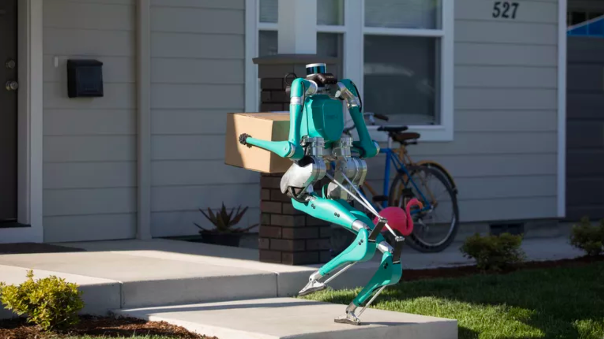 In this image, Digit delivers a package on someone's front porch.