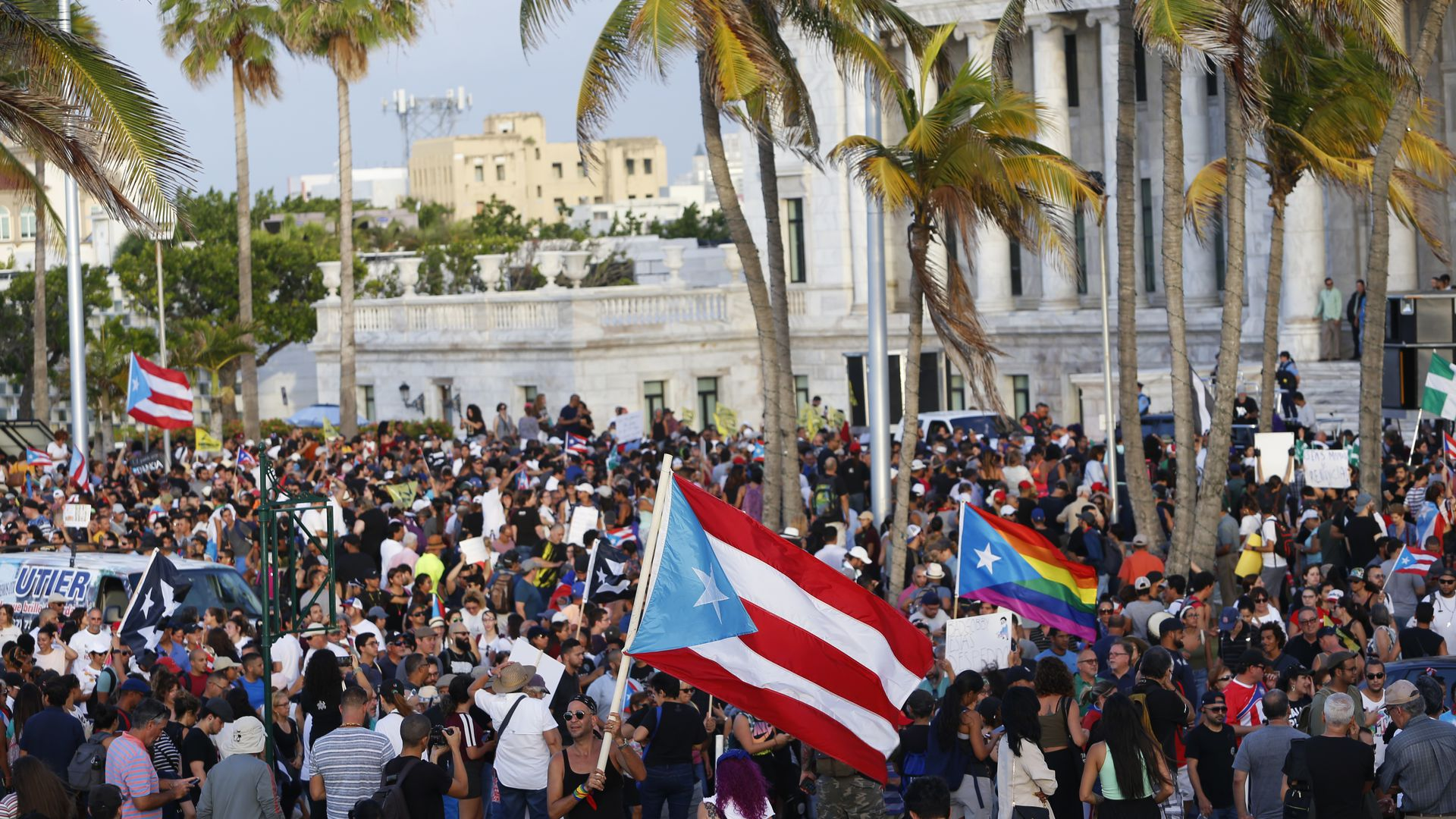Thousands march to the Capitol Building and the governor's mansion on July 15, 2019 in San Juan, Puerto Rico.