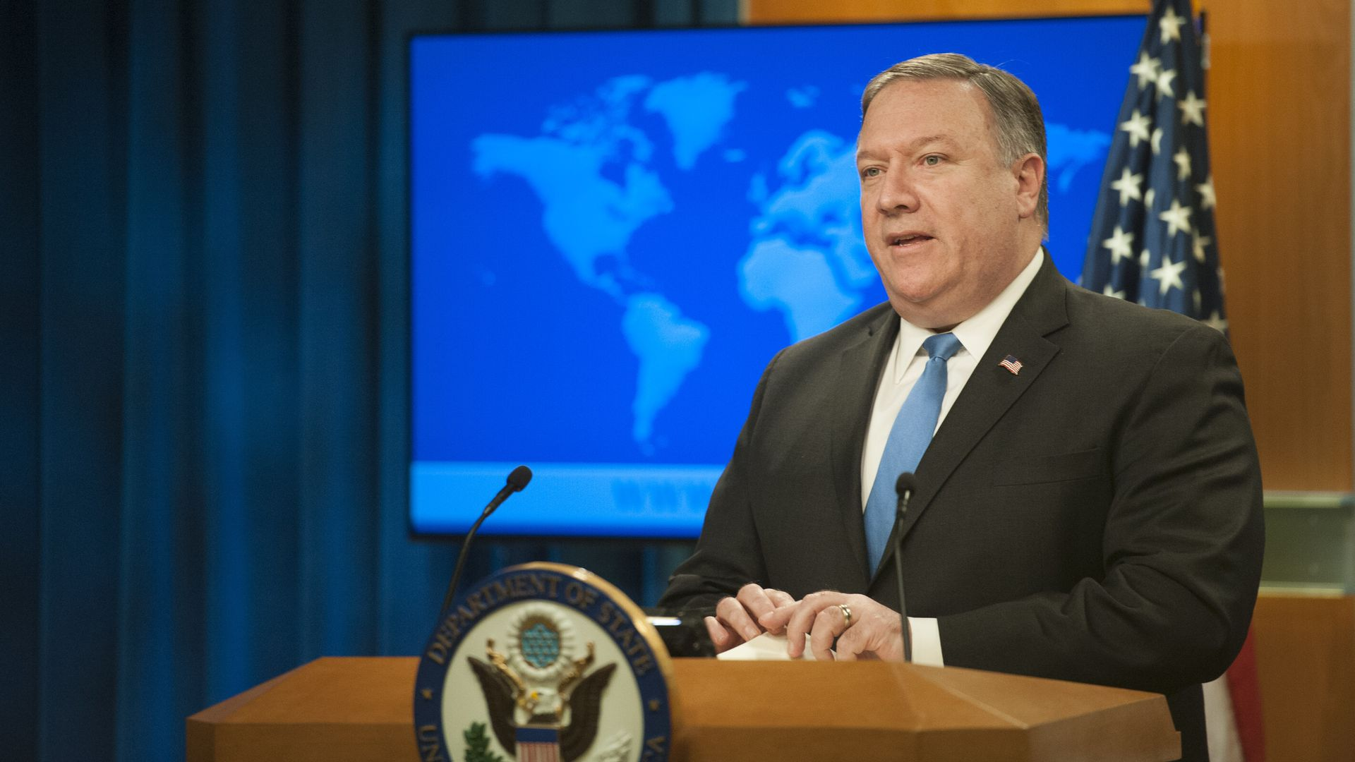 Secretary of State Mike Pompeo at a podium