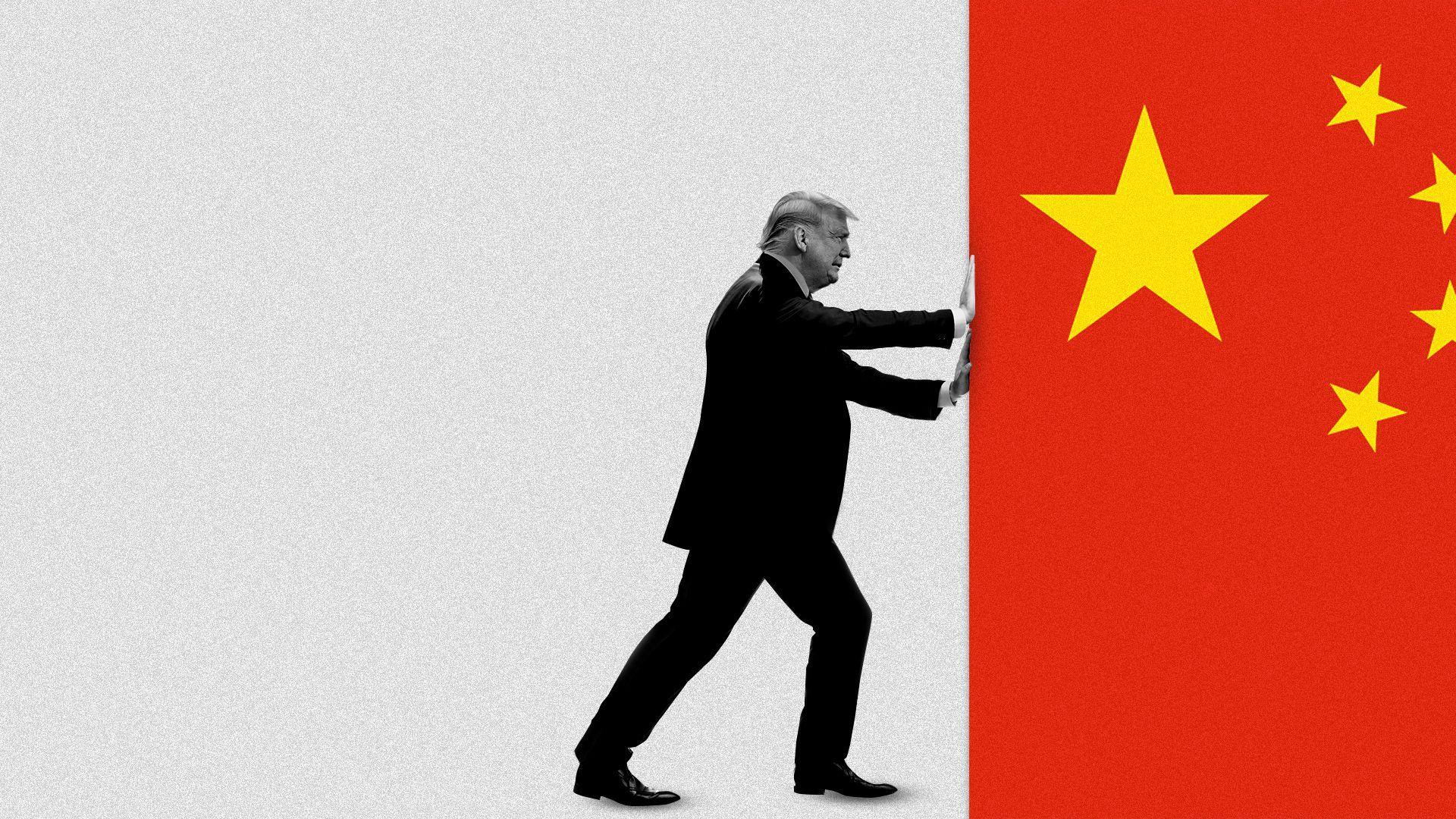 Иллюстрация президента Трампа, убирающего китайский флаг с экрана.
