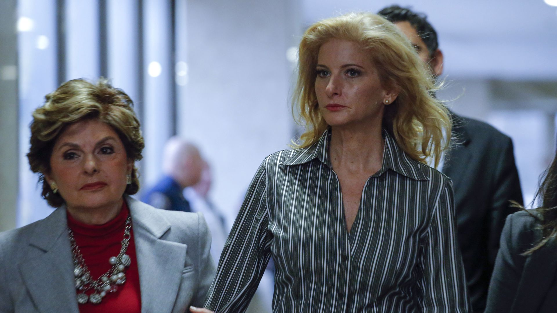 Summer Zervos, (R) a former contestant on 'The Apprentice' arrives with lawyer Gloria Allred.