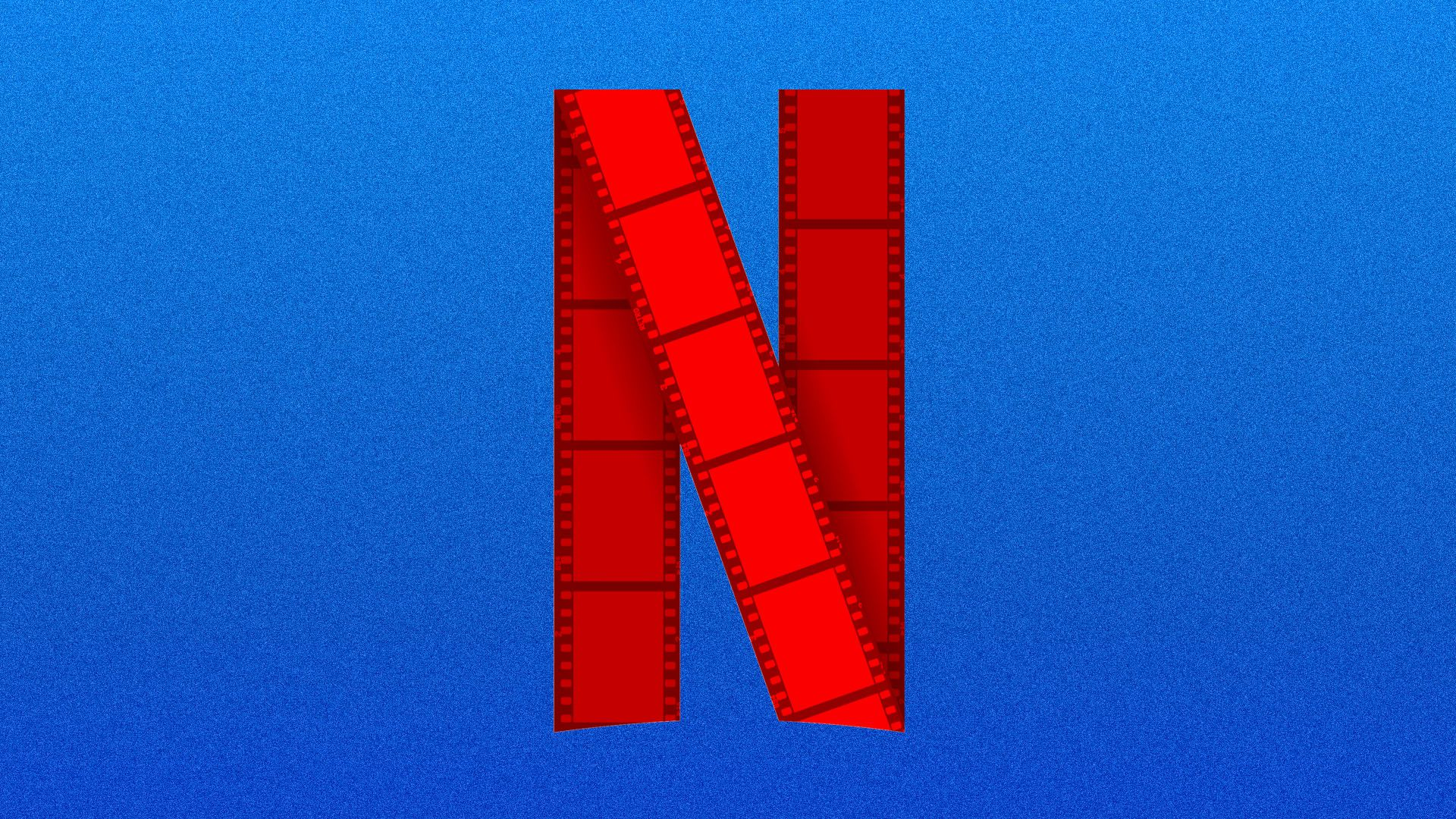 This illustration shows the Netflix logo made out of movie reel