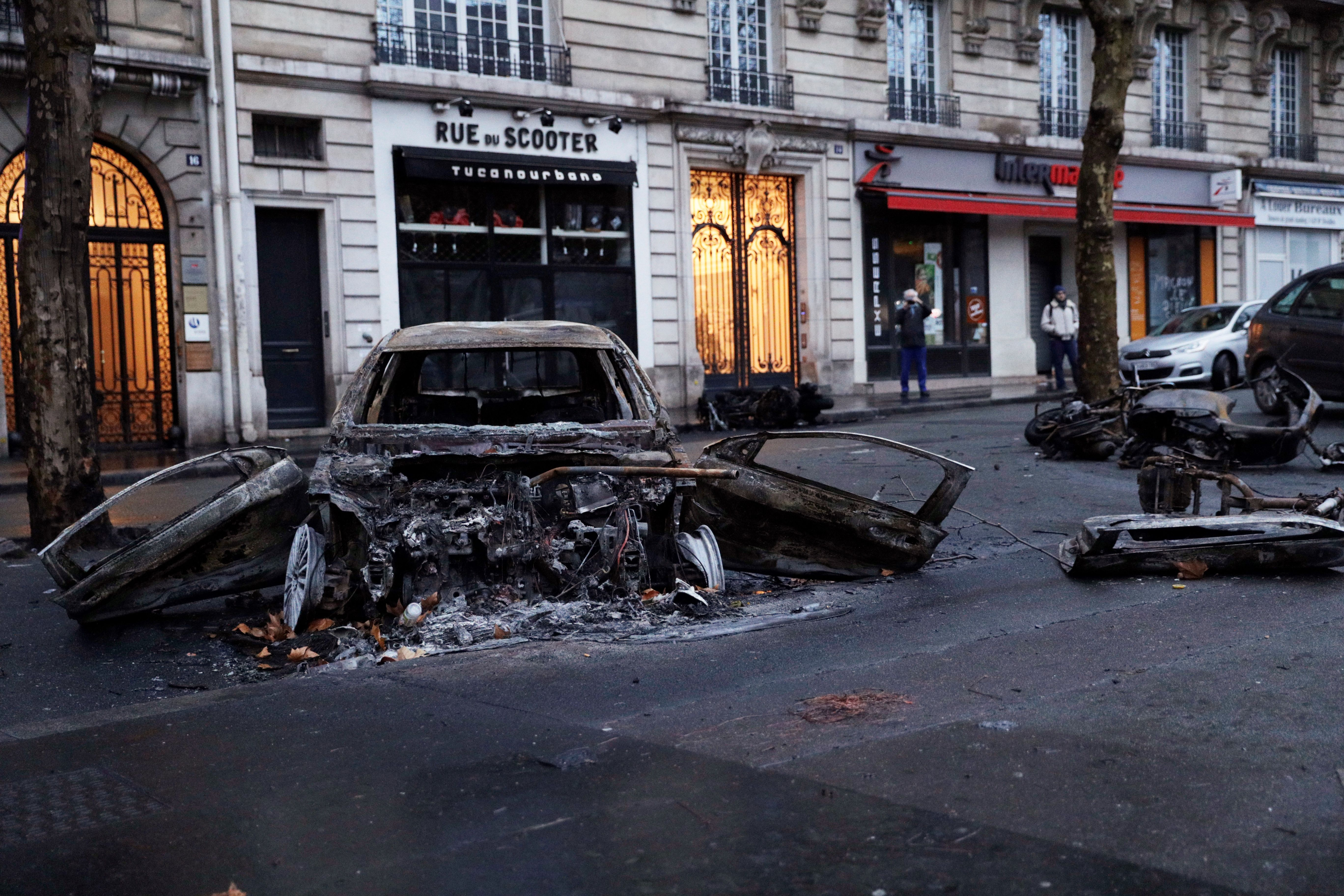 Charred car in Paris from the riots