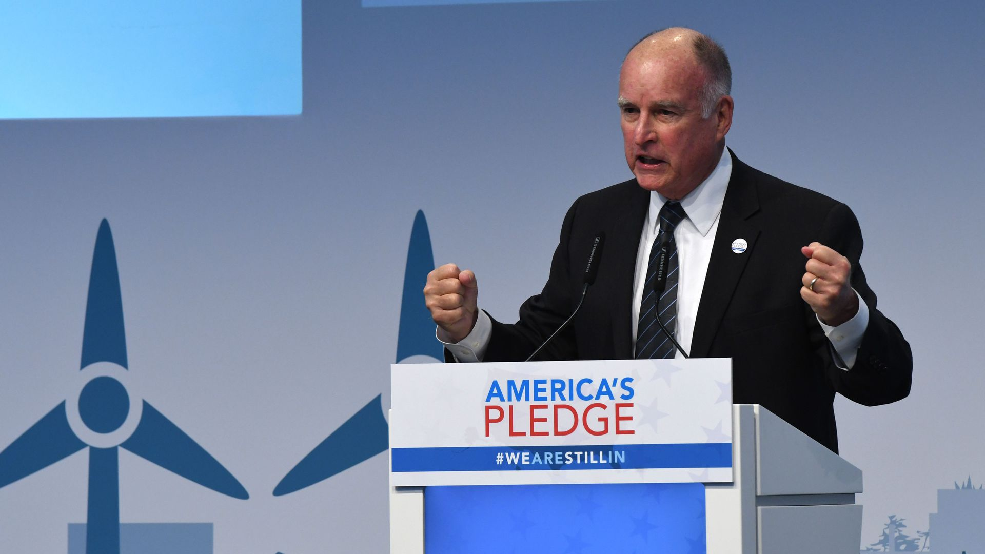 US Governor of California, Jerry Brown speaks at the launch event at the US climate action center on November 11, 2017 during the COP23 United Nations Climate Change Conference.