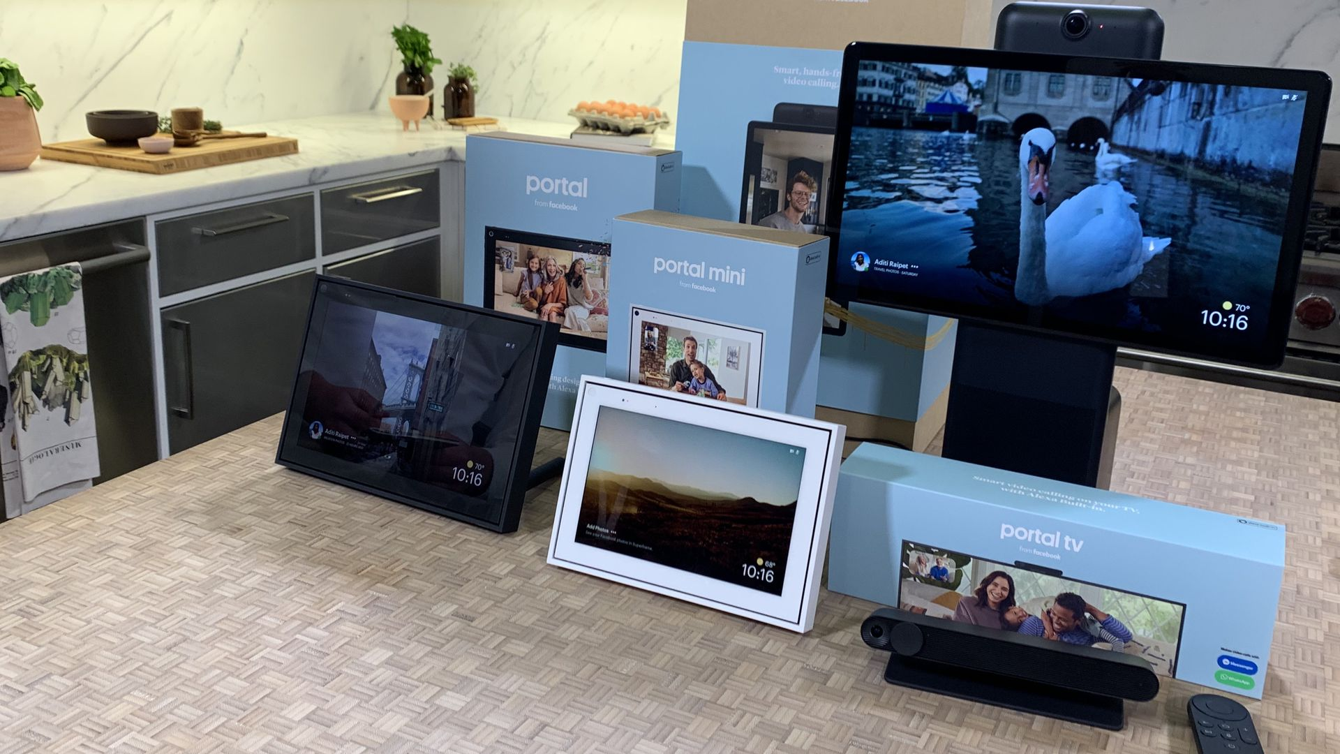 Facebook's expanded family of Portal devices in a kitchen