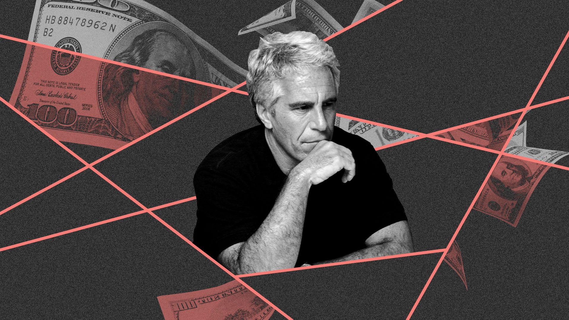 Illustration of Jeffrey Epstein against a background of money