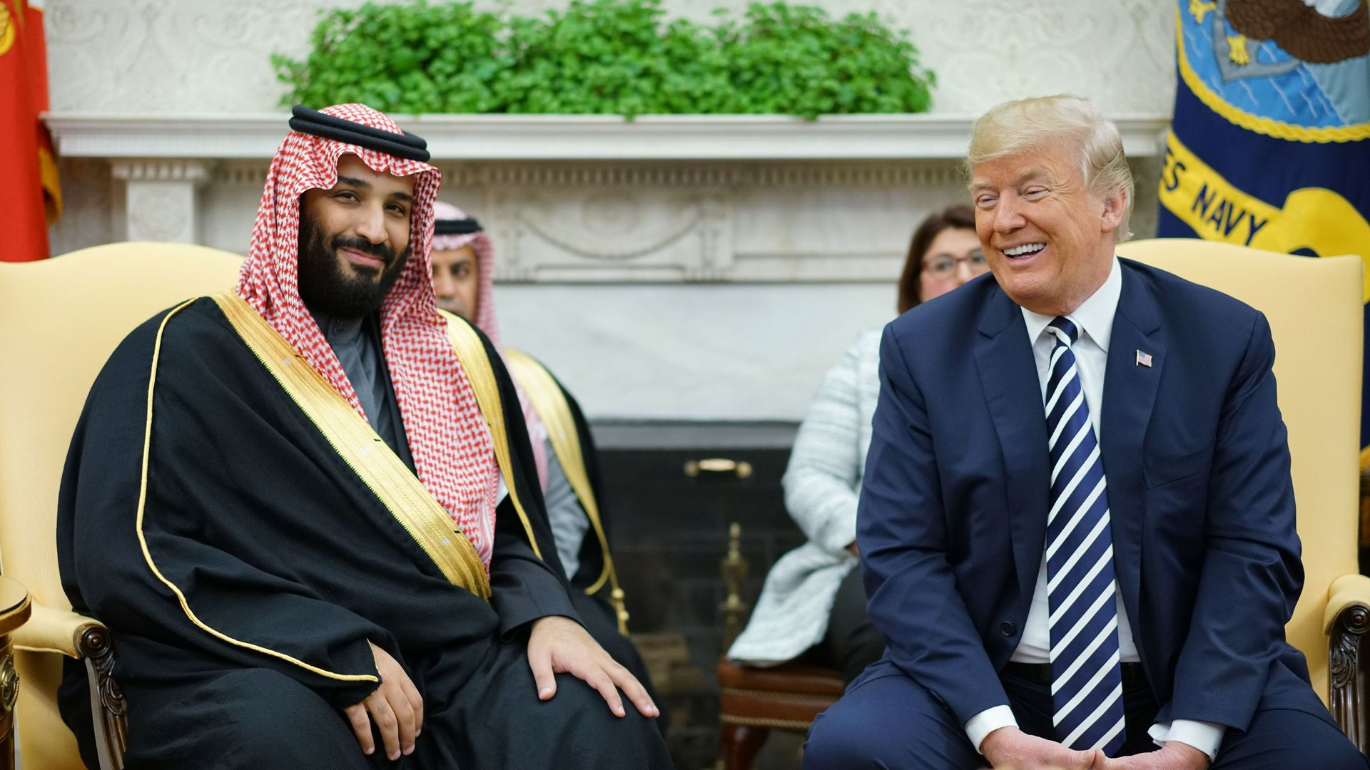 President Trump and Saudi Crown Prince Mohammed bin Salman seated in the Oval Office