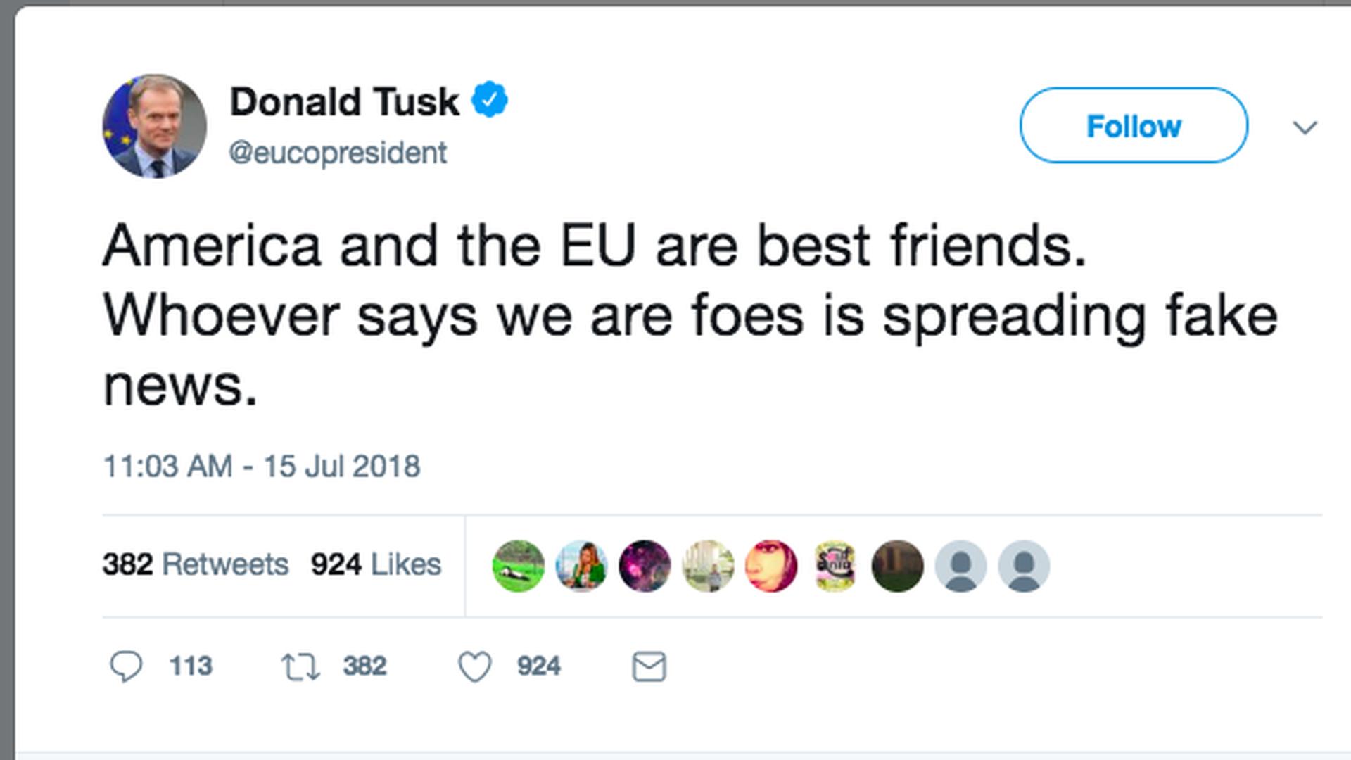EU leader accuses Trump of