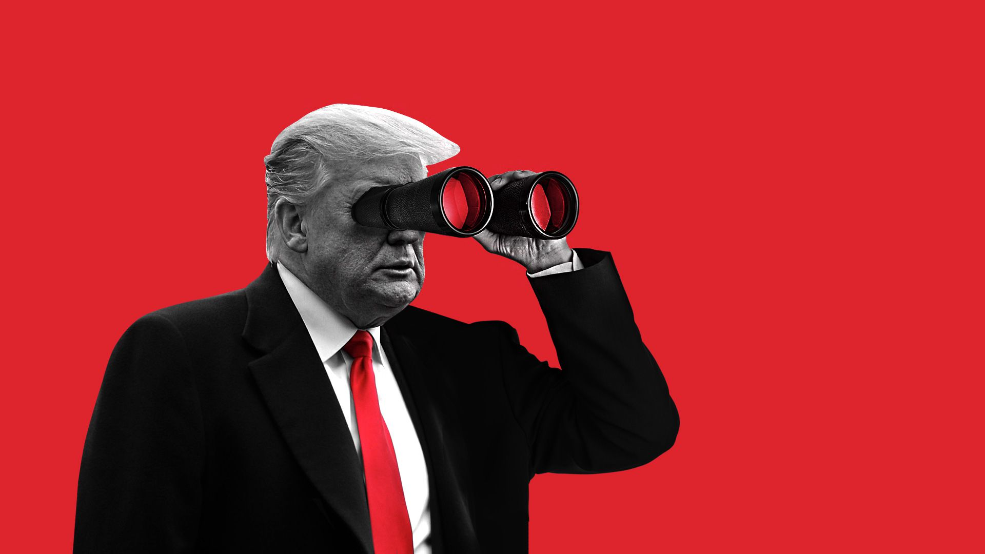 Trump peering into the distance with binoculars