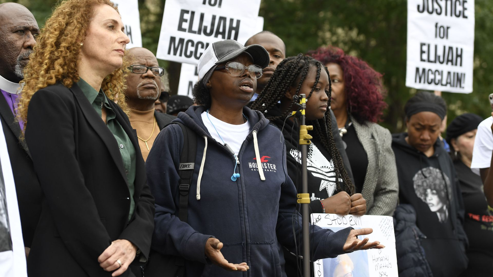 Sheneen McClain, center, mother of Elijah McClain, speaks during a press conference in front of the Aurora Municipal Center on Oct. 1, 2019.