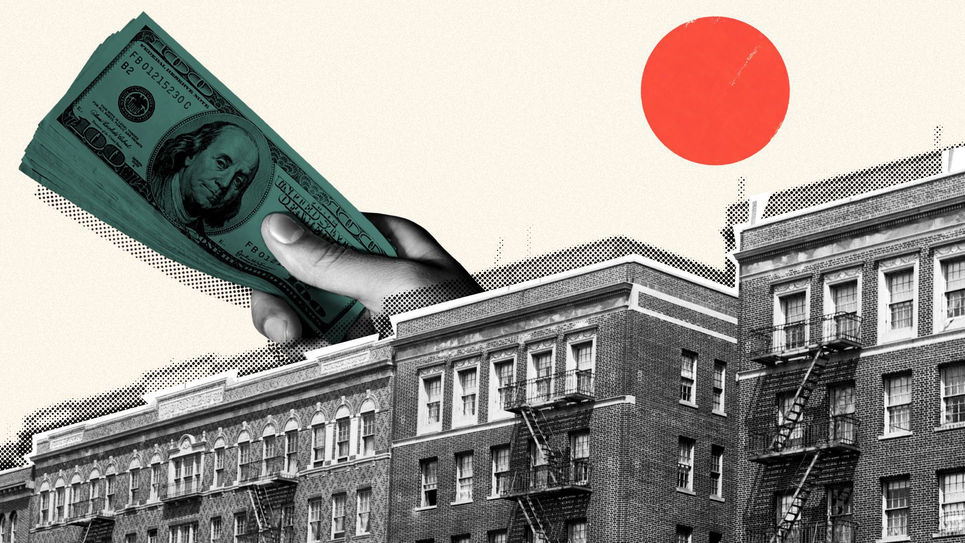 Photo illustration of a row of apartment buildings, with a giant hand holding a stack of hundred dollar bills behind them