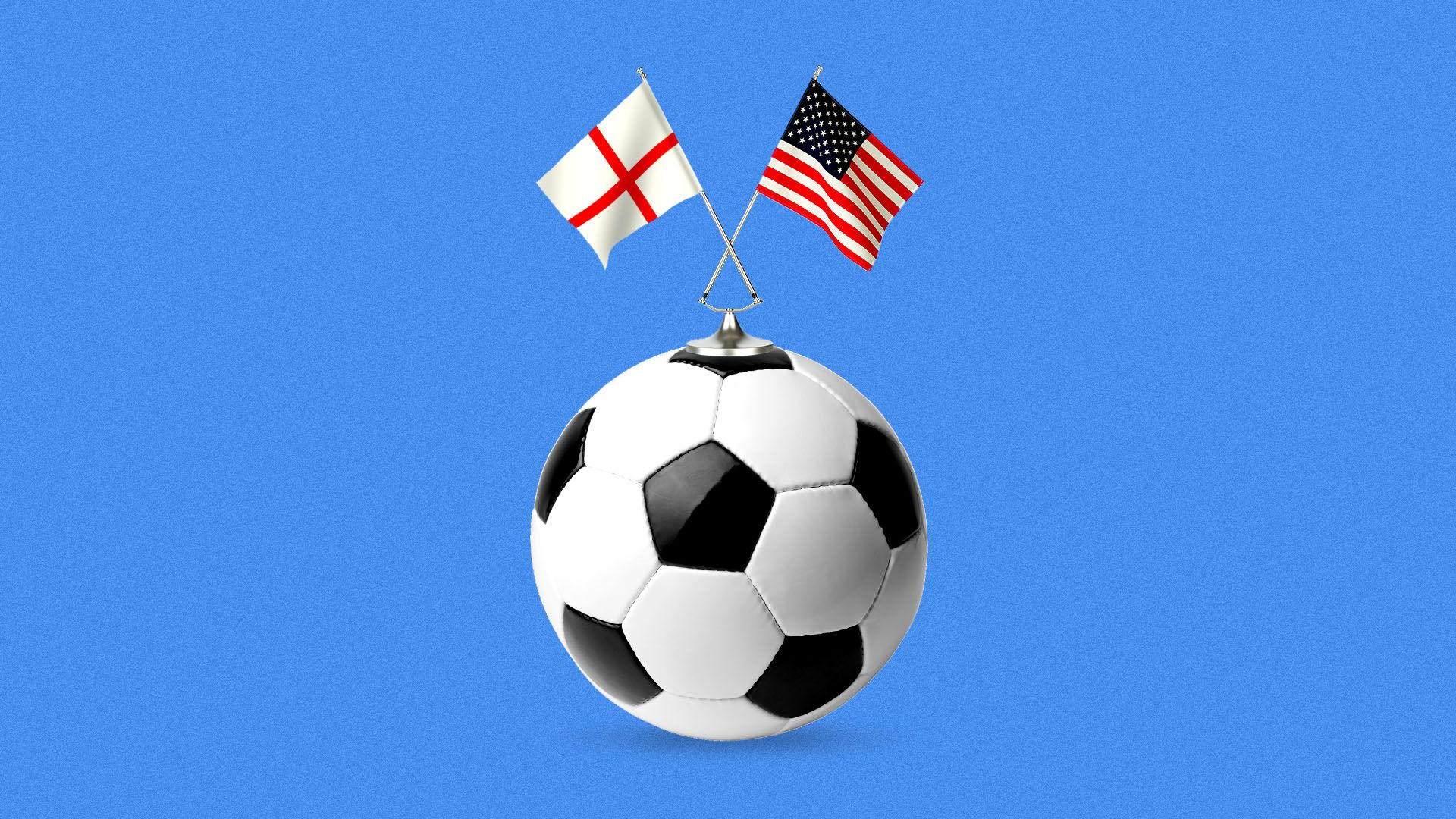 Illustration of a soccer ball with the flags of England and the United States on top