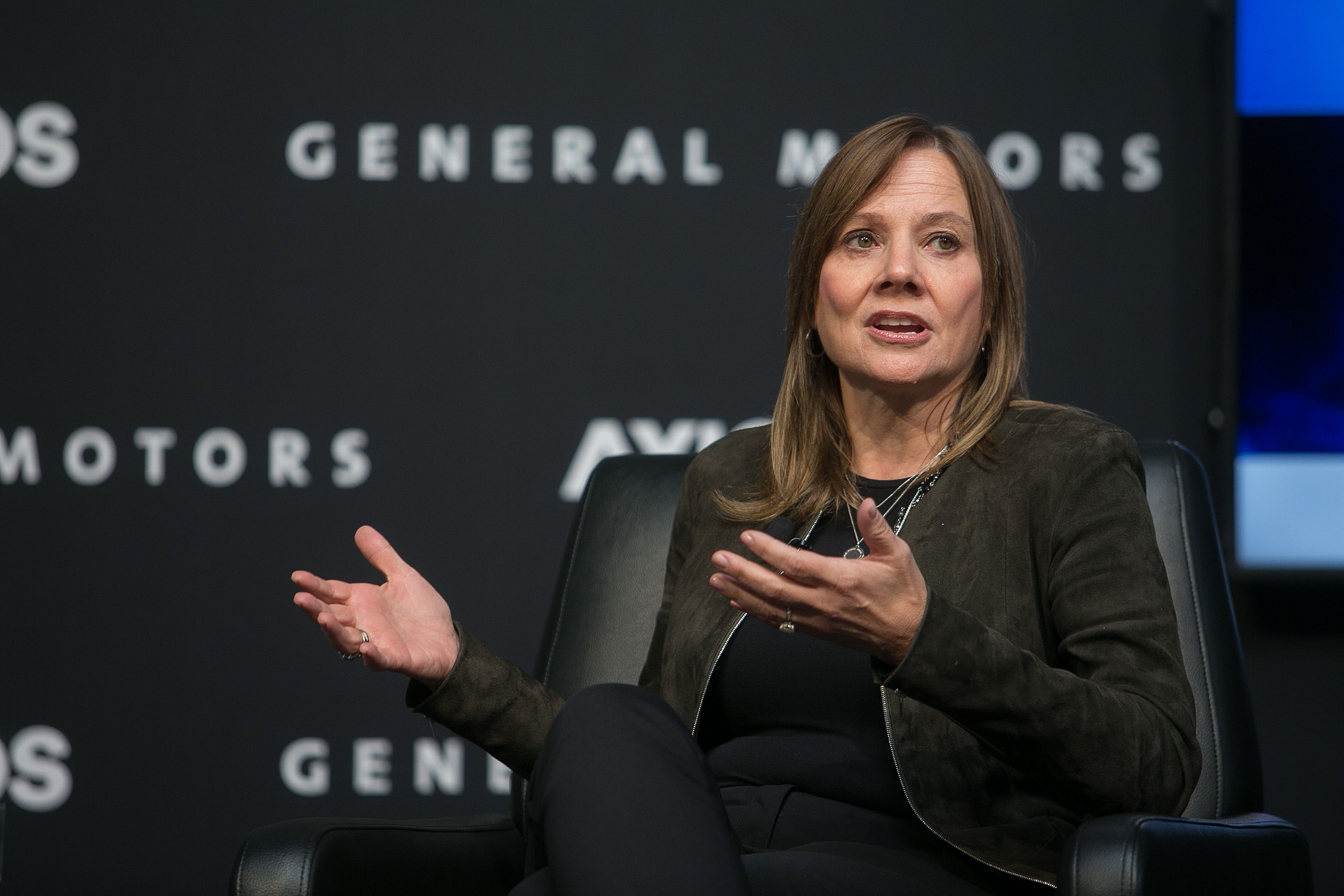 GM's Mary Barra discussing the future of transportation on stage.