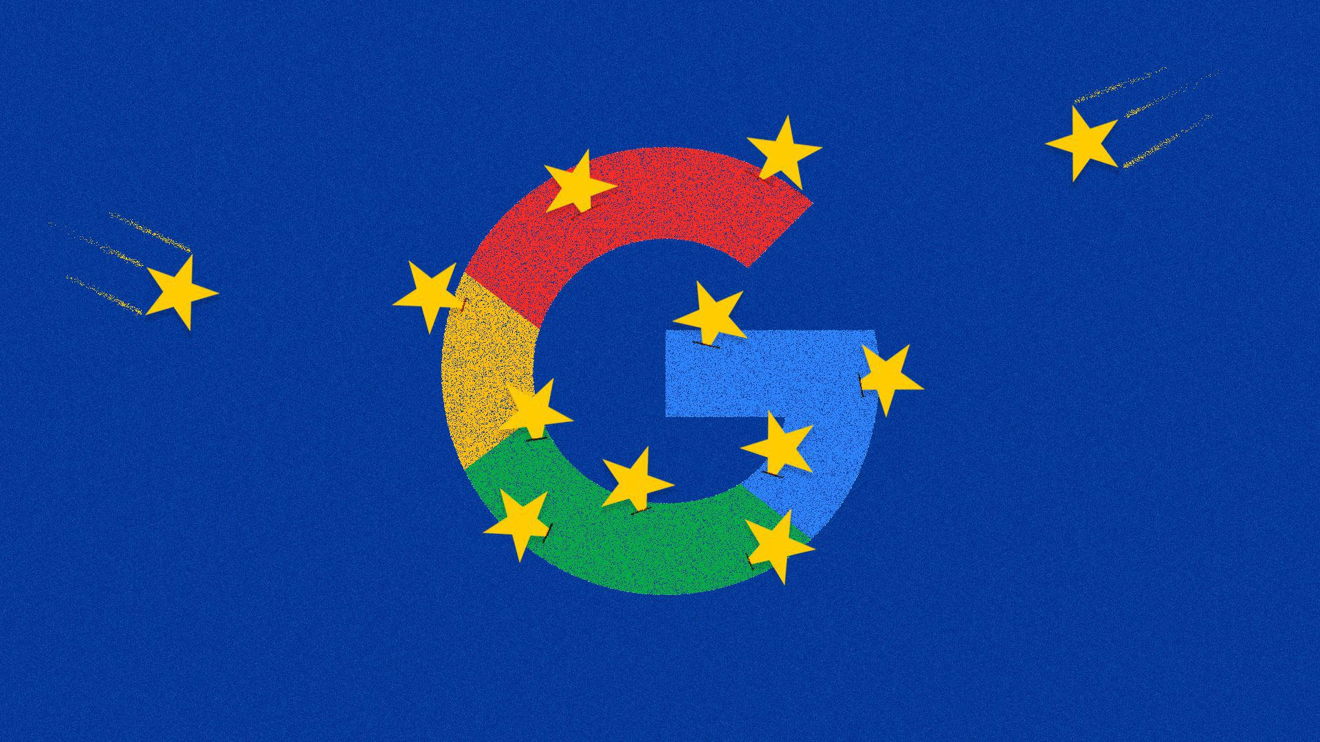 An illustration merging the Google and European Union logos