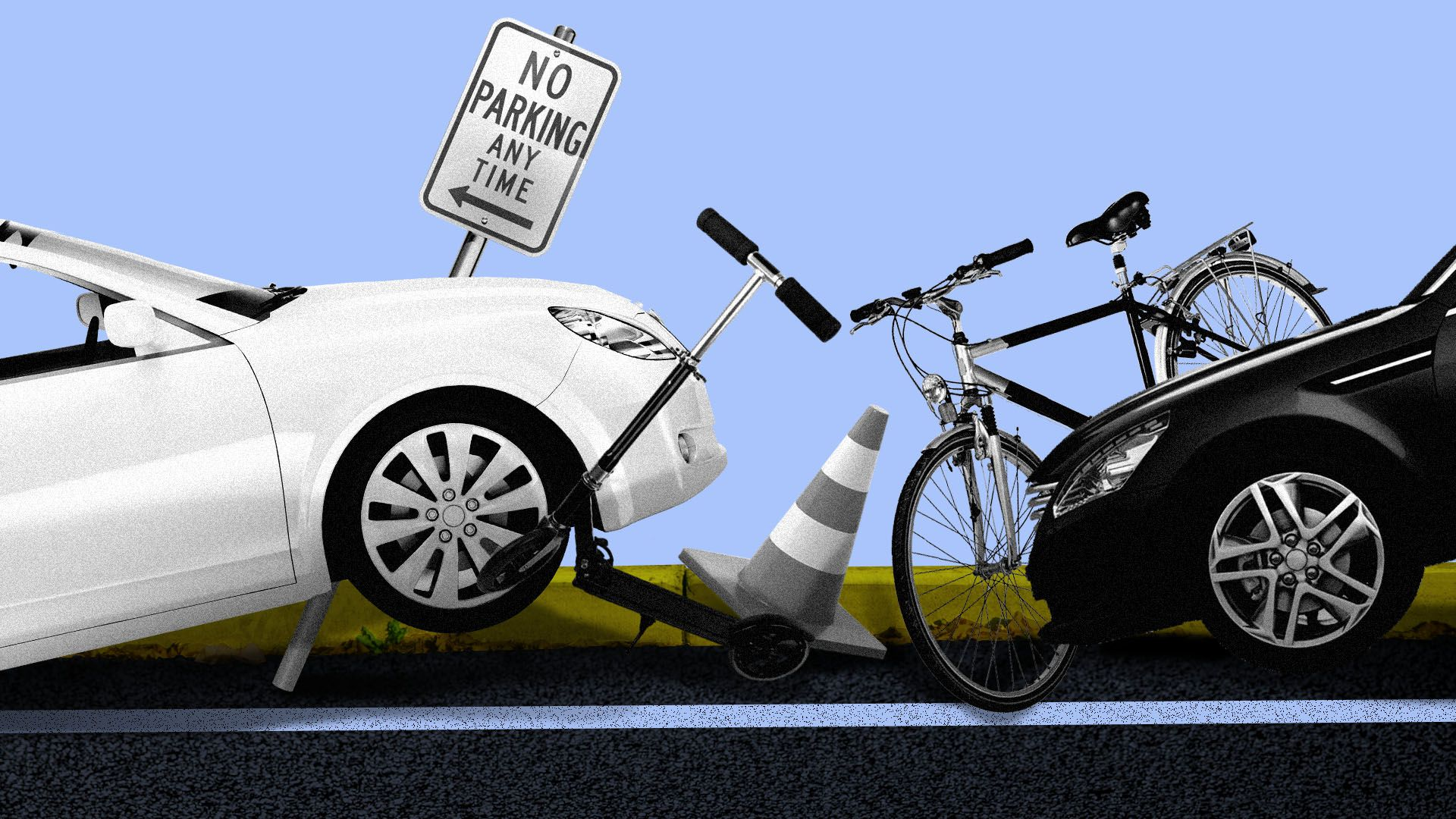 Illustration of a curb congested with cars, a bike, a scooter, a traffic cone, and a no parking sign