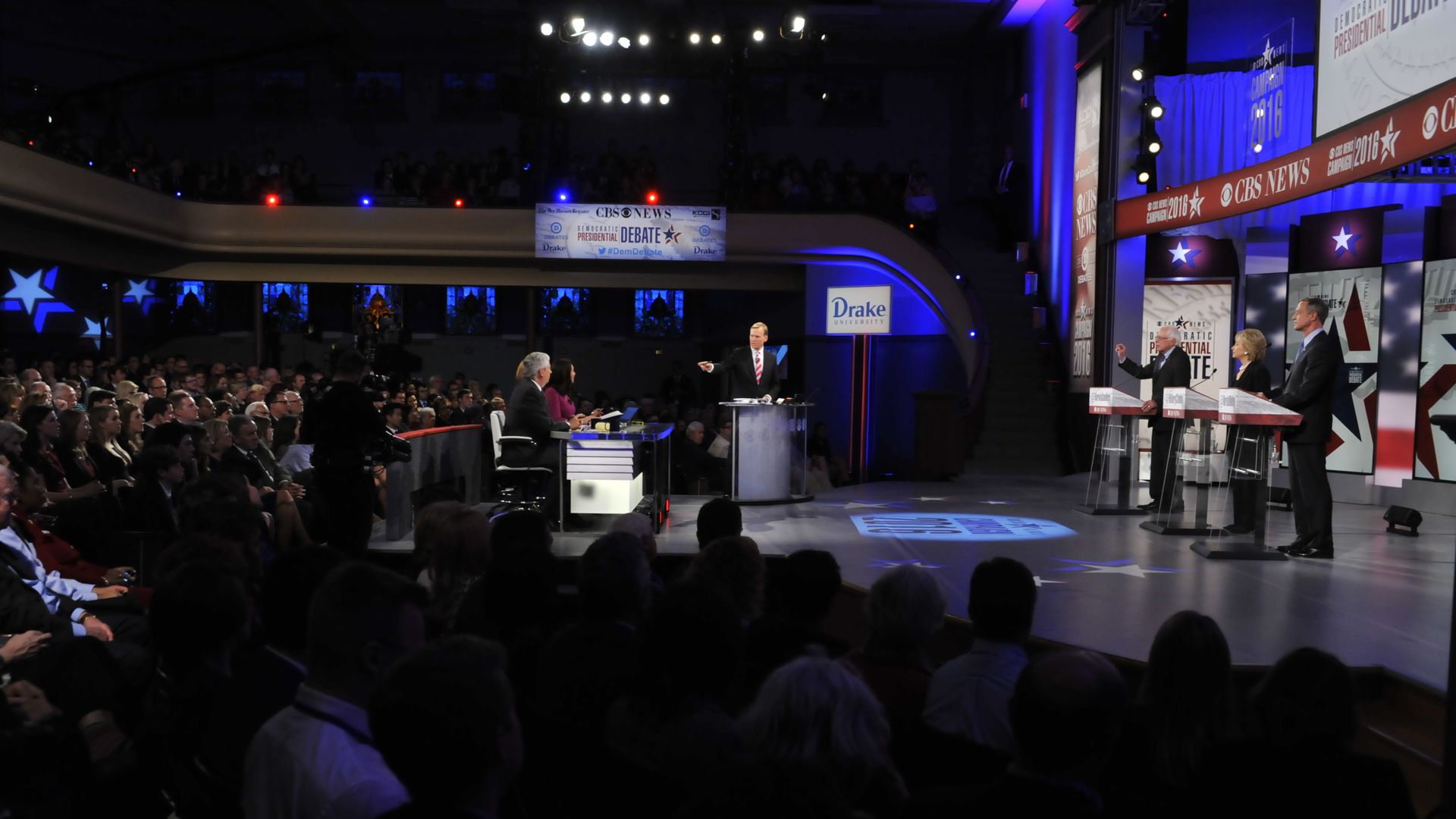 John Dickerson moderates Democratic primary debate in 2015.