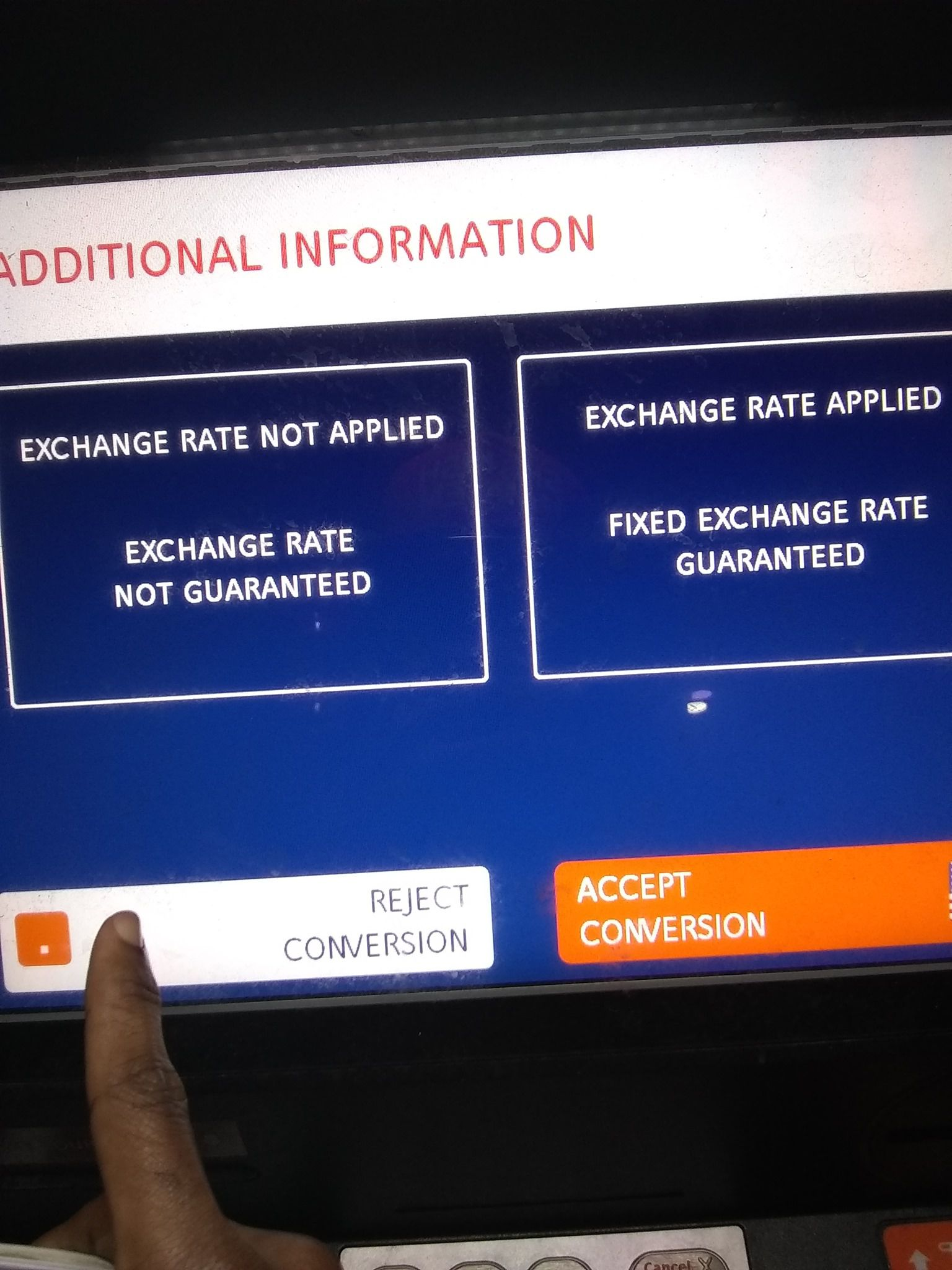 A photo of ATM transaction options.