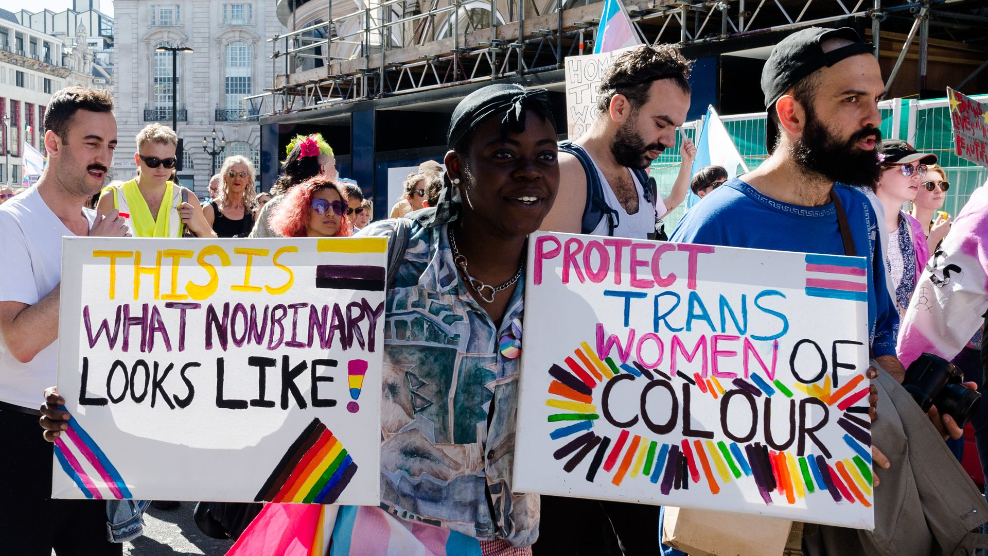Protesters march in support of the transgender community