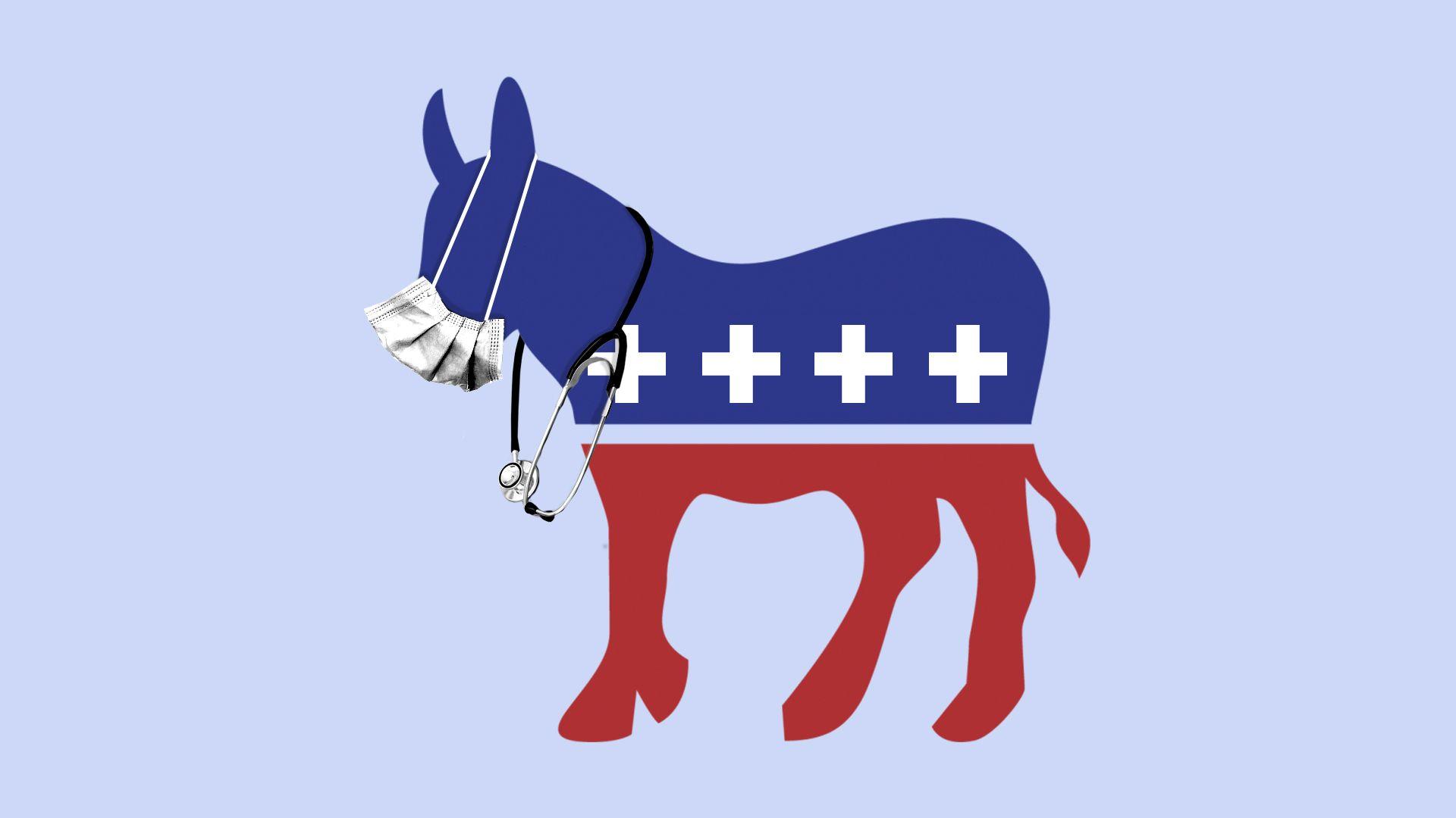 Illustration of democratic donkey wearing stethoscope and medical mask