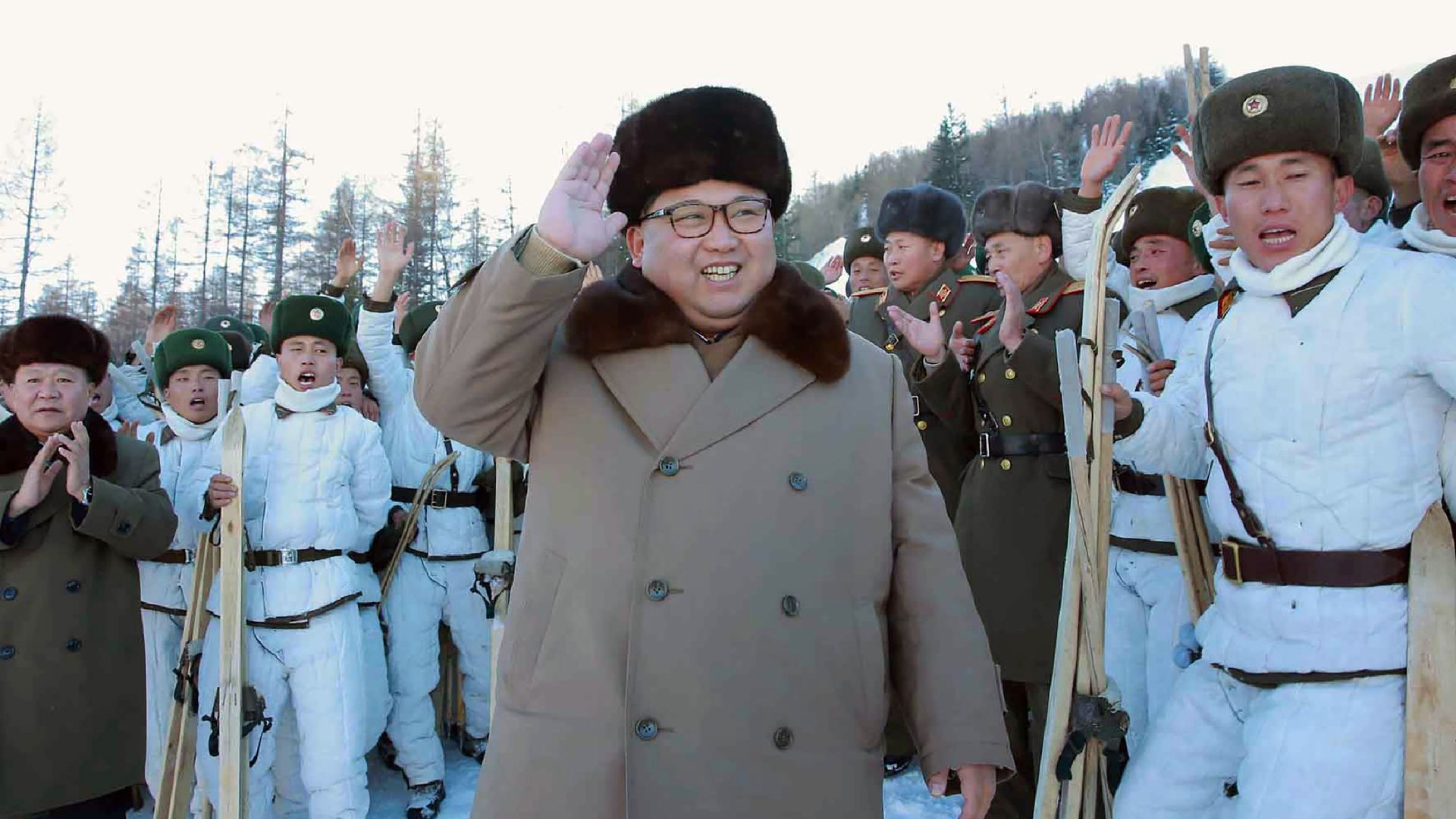 North Korean leader Kim Jong-Un (C) inspecting the skiing training of the mountain infantry battalion under KPA Unit 1045 at an undisclosed location. November 26, 2016. KNS/AFP/Getty Images