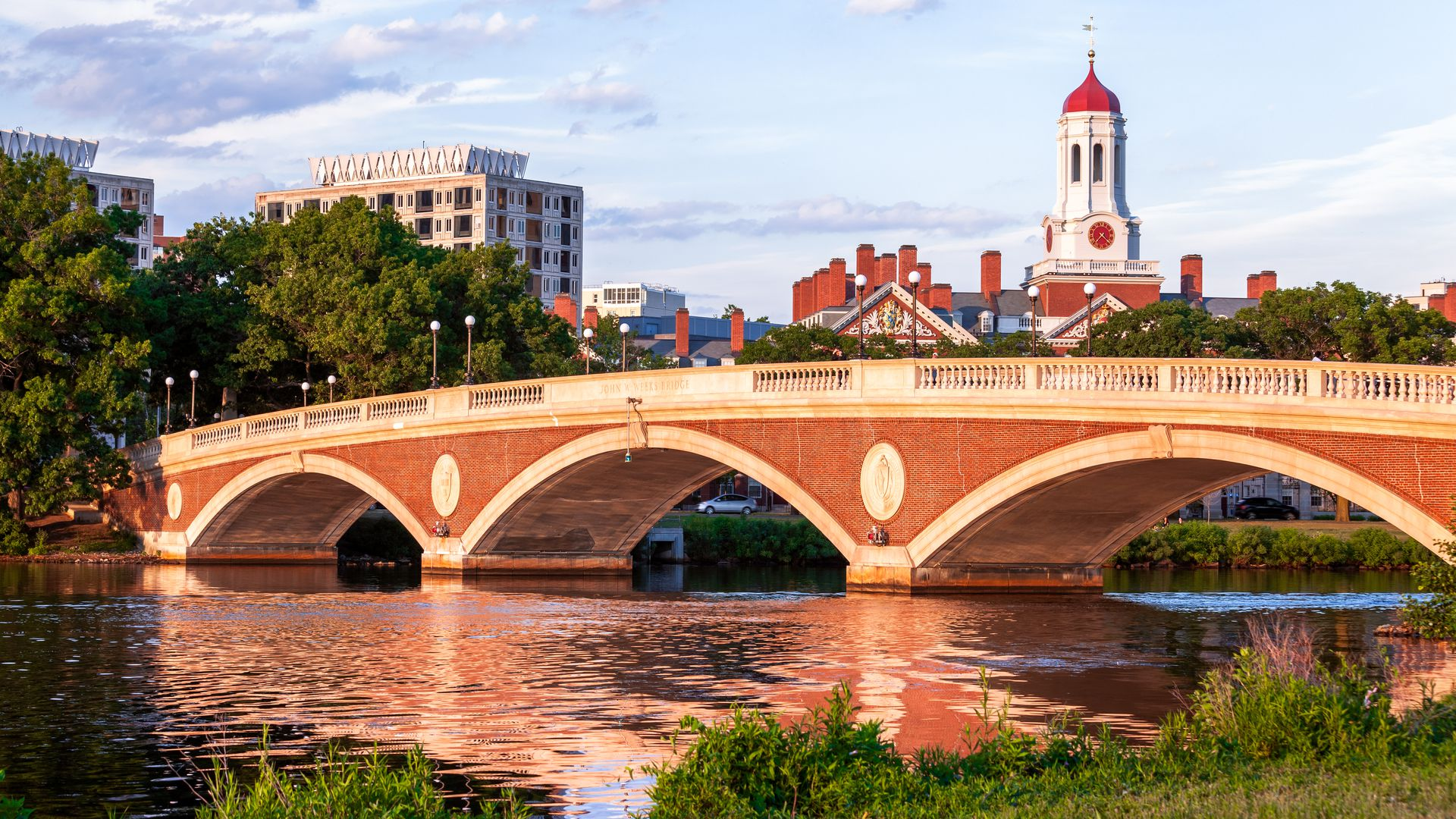 This is an image of a bridge at Harvard on a sunny, clear day.