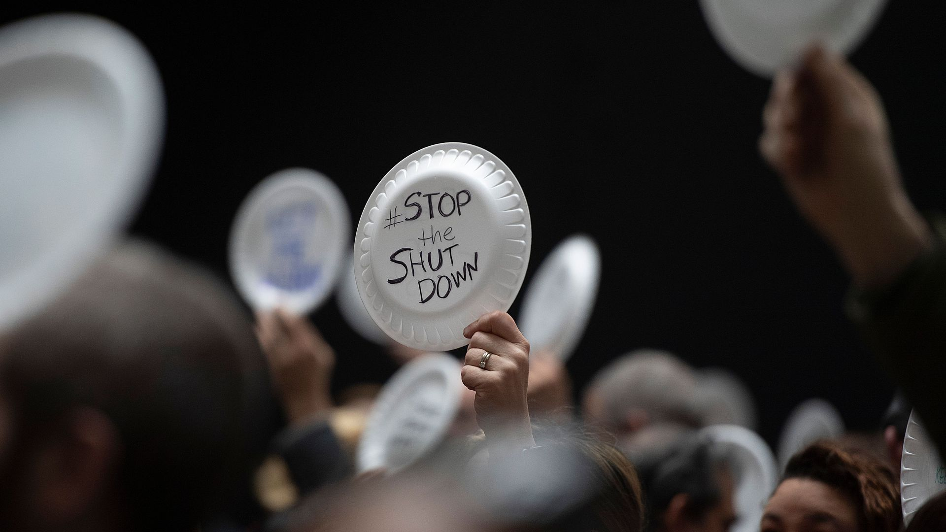 """""""Stop the Shutdown"""" on a paper plate."""