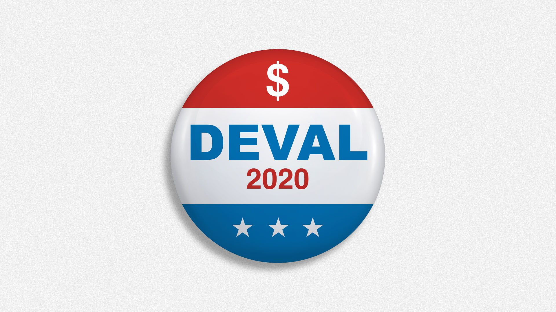Illustration of Deval 2020 campaign button with dollar sign and stars.