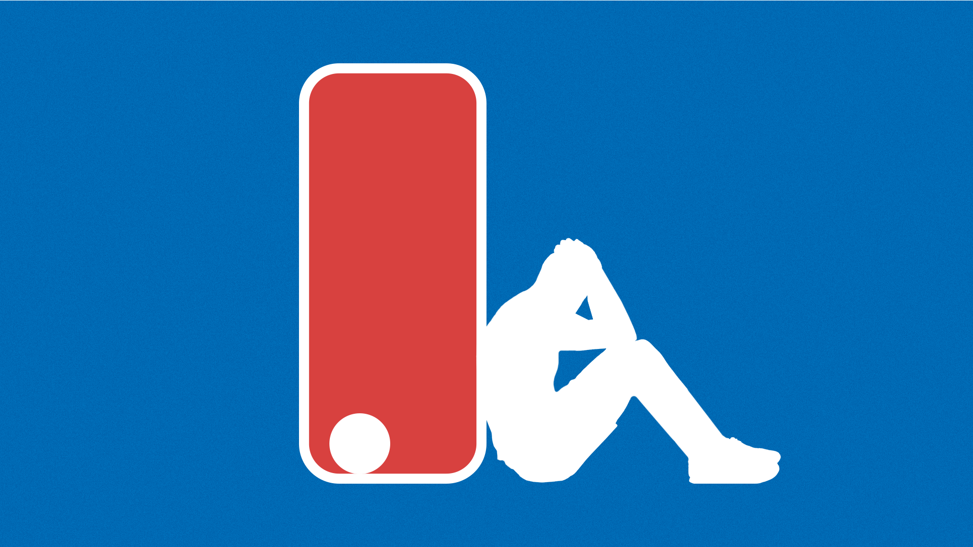 Illustration of the NBA logo with the ball left abandoned and the player sitting and leaning against the outside frame of the logo with his head in his hands.