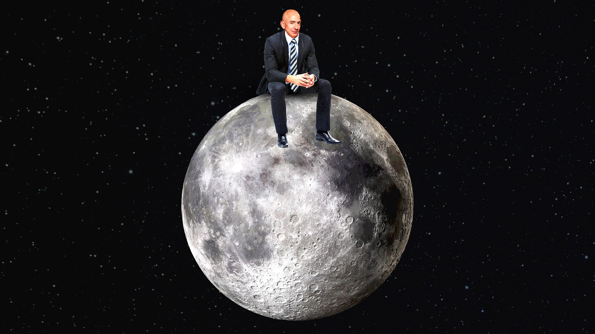 Illustration of Jeff Bezos sitting on the moon