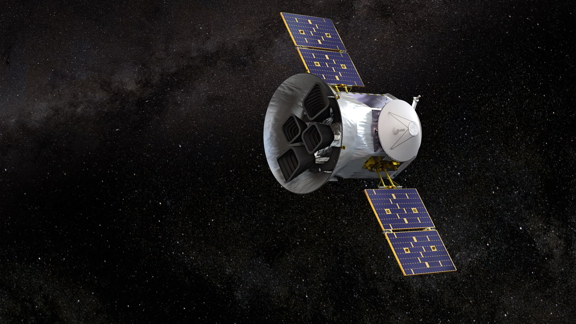 Artist's rendition of TESS in space (Credit: NASA's Goddard Space Flight Center)
