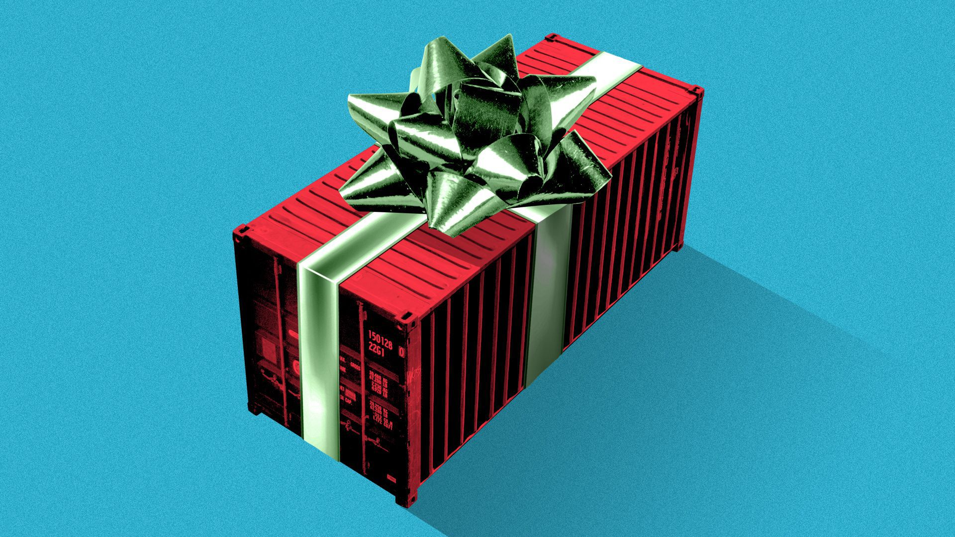Illustration of a shipping container with a ribbon and bow on it.