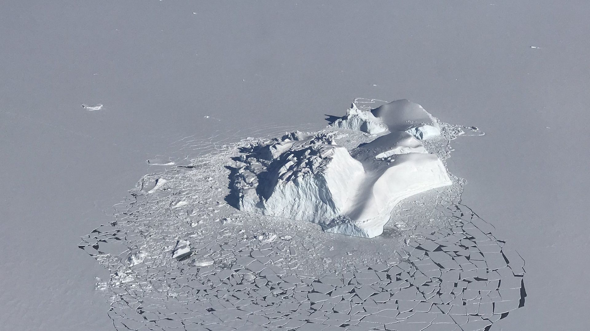 A large iceberg has broken the surrounding layer of consolidated sea ice.