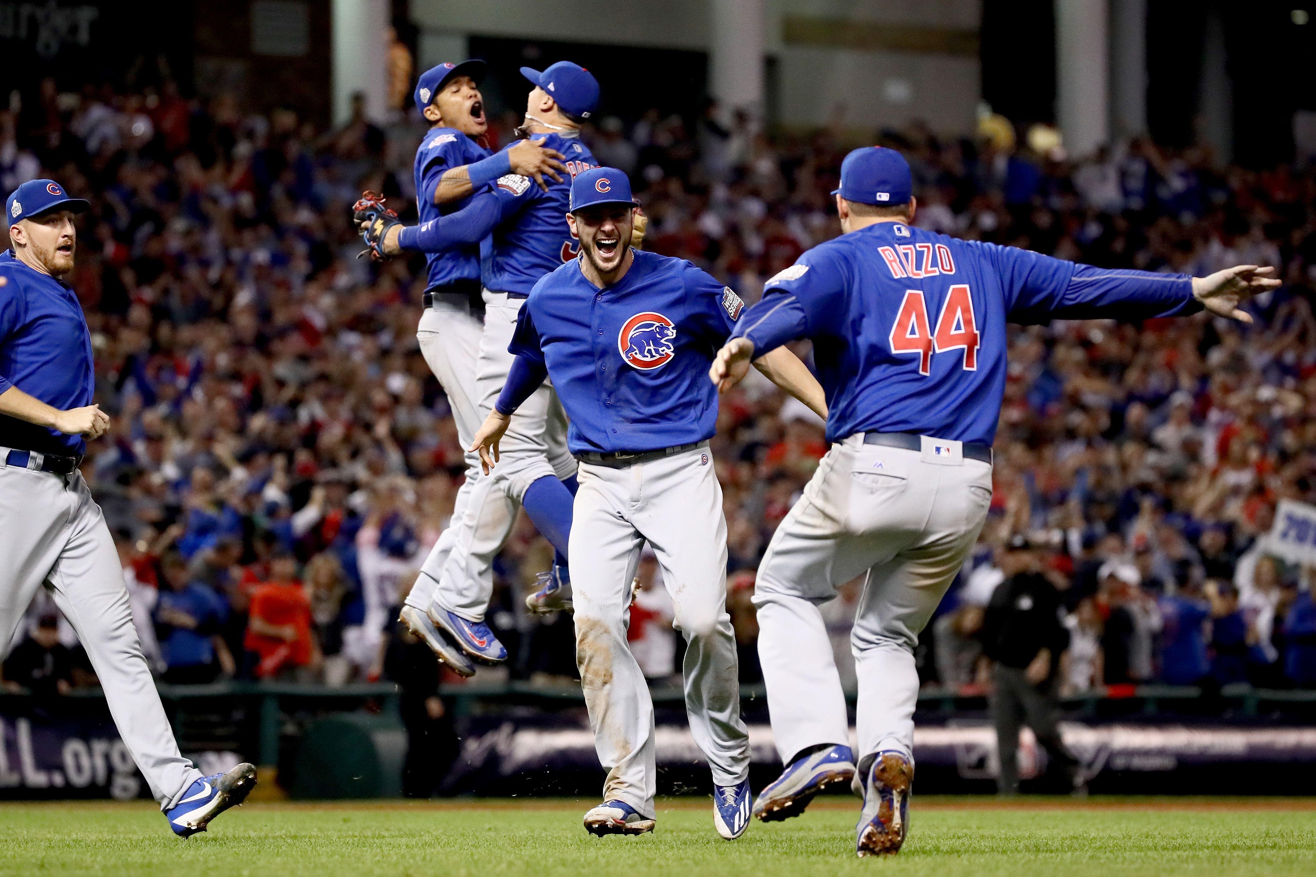 Cubs celebrating