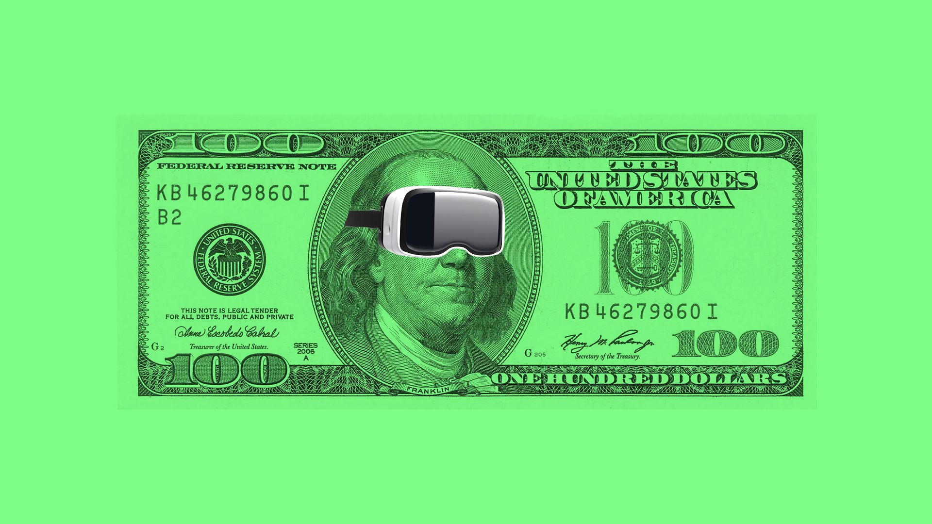 Illustration of Ben Franklin on a $100 bill wearing VR goggles