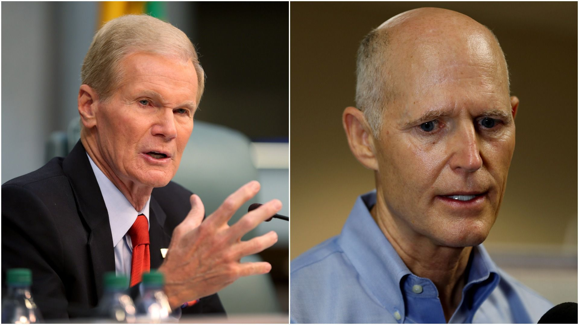 A split image of Bill Nelson and Rick Scott