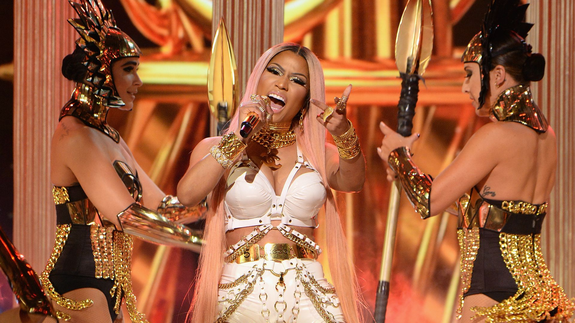Rapper Nicki Minaj performing