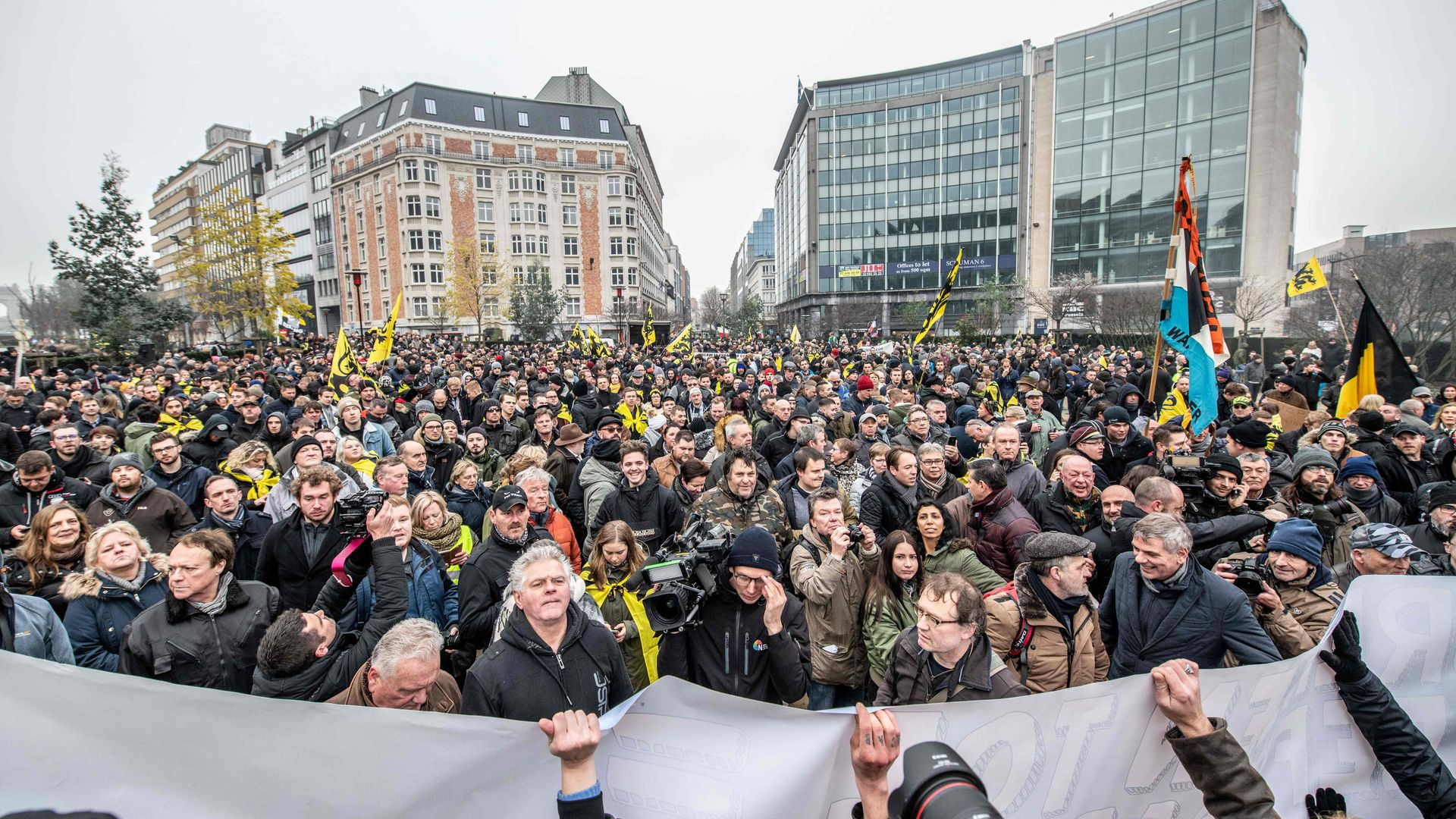 Protestors at a gathering called by the right-wing Flemish party Vlaams Belang and other organizations in Brussels against the UN Marrakech global pact on migration.