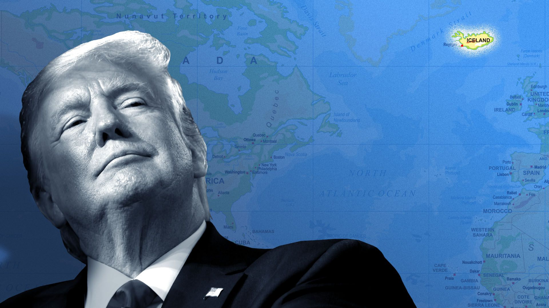 Illustration of President Trump looking at a world map with Iceland highlighted