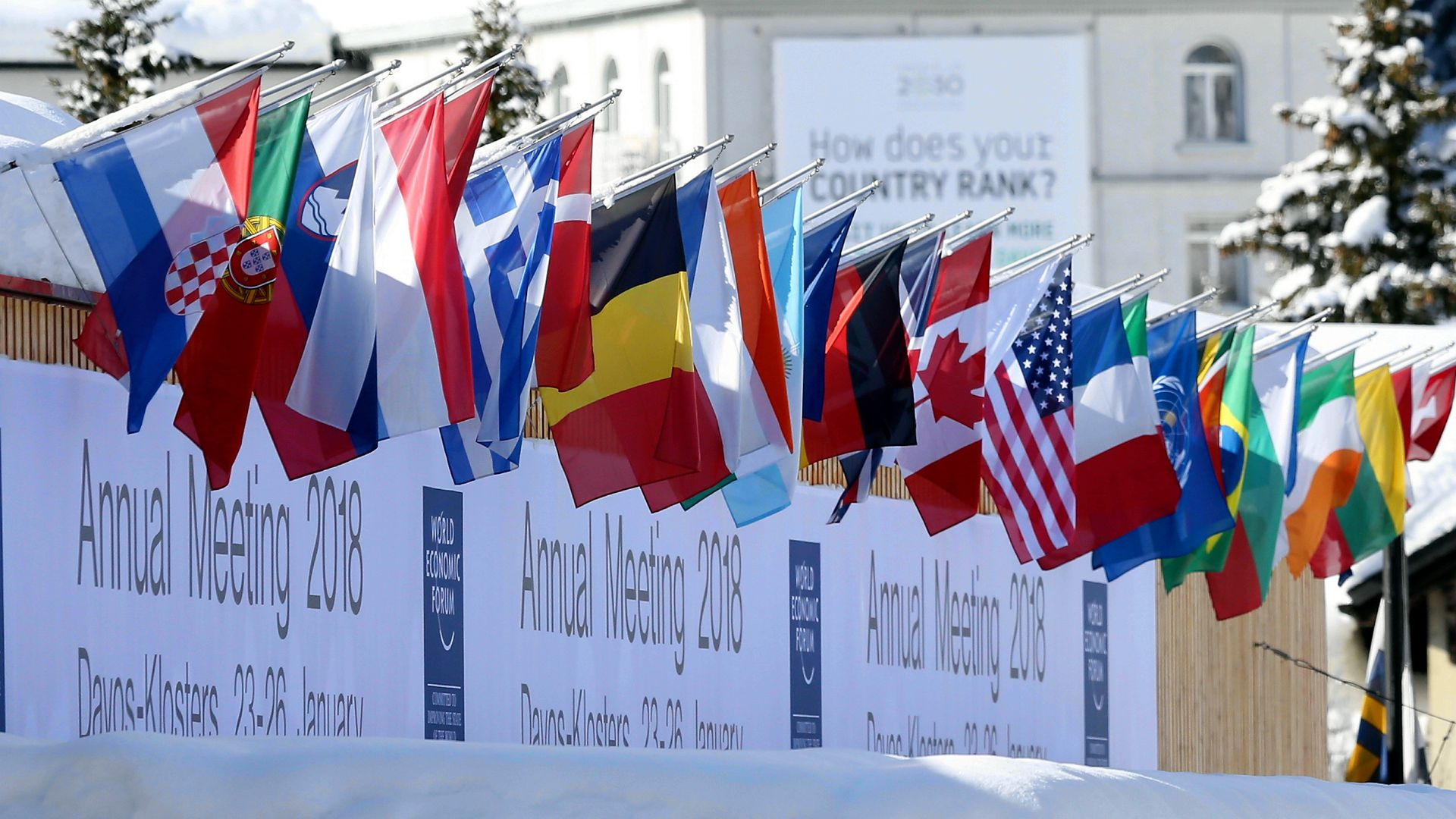 Line of flags for countries attending the 2018 World Economic Forum in Davos, Switzerland