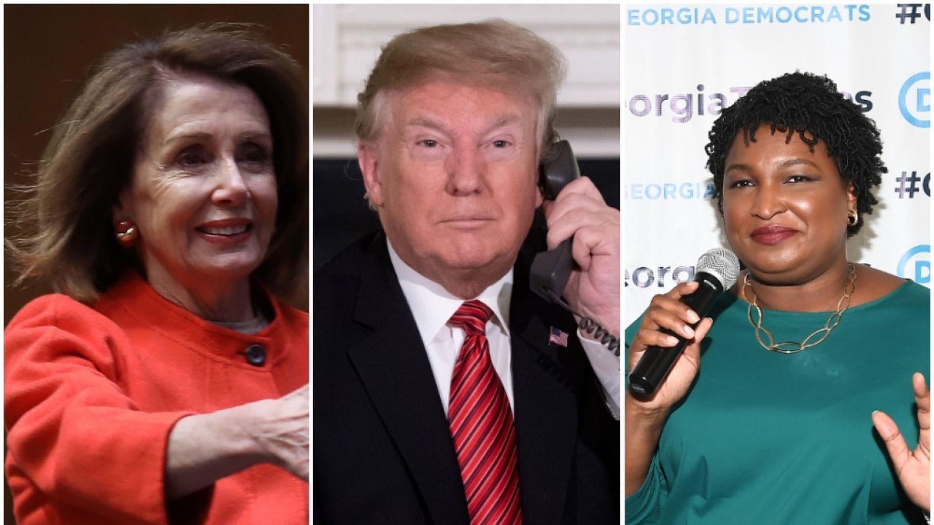 Pelosi, Trump, Abrams in split screen.